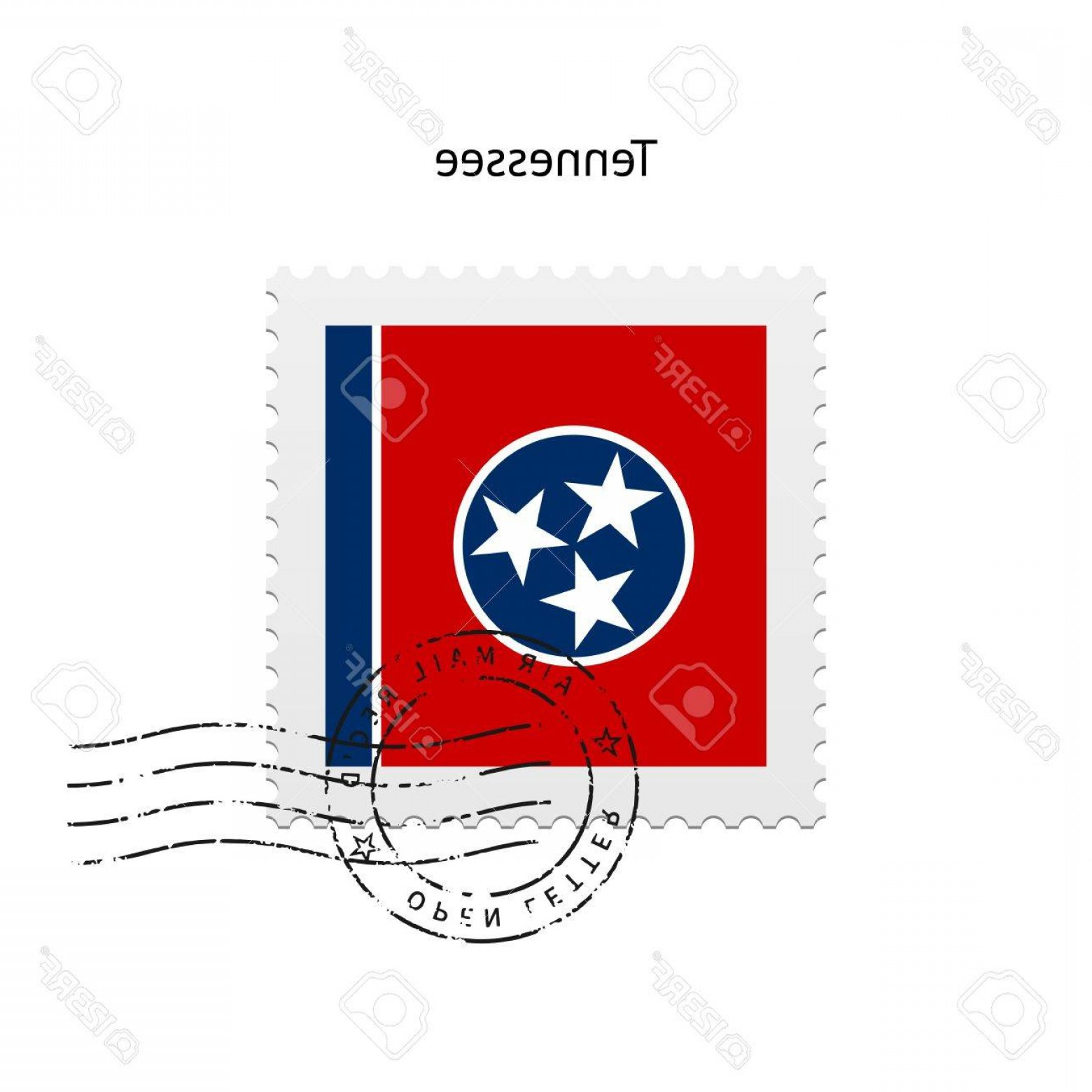 Tennessee Flag Vector: Photostock Vector State Of Tennessee Flag Postage Stamp On White Background Vector Illustration