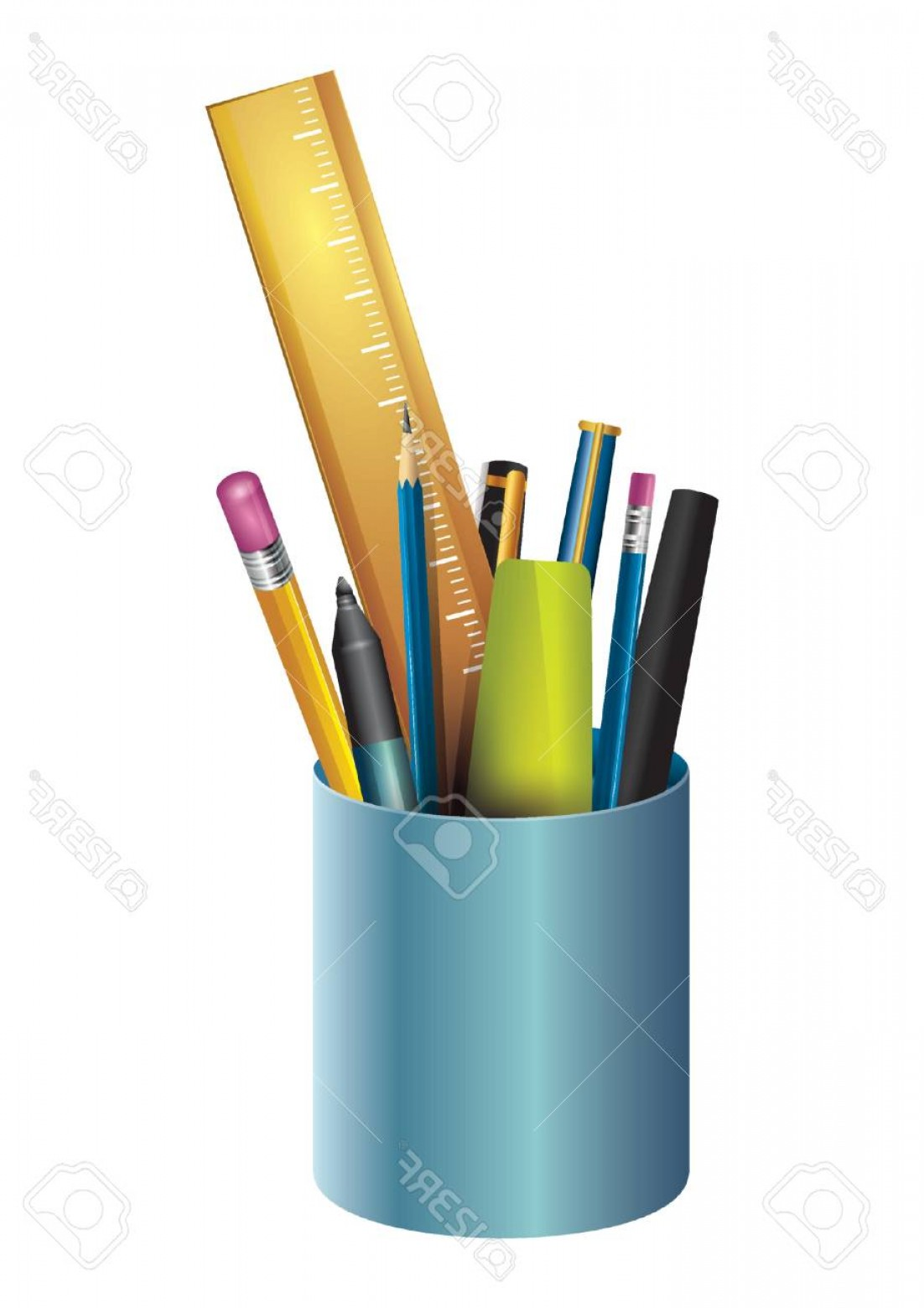 Vector Pencil Holder: Photostock Vector Stationery In A Pen Holder
