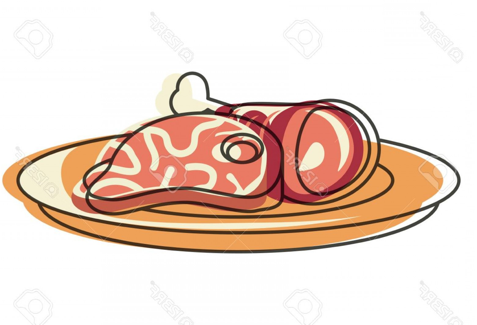 Steak Taco Vector Art: Photostock Vector Steak And Ham Leg Icon Design Illustration Isolated Vector