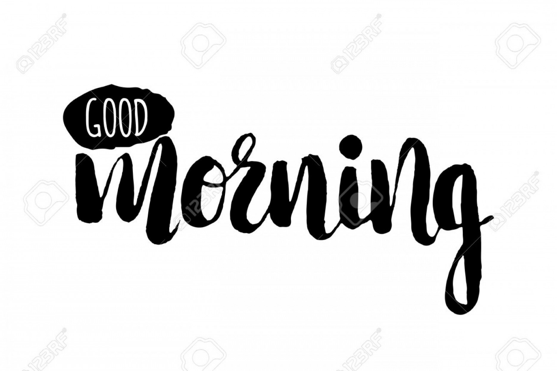 Stencil Word Art Vector: Photostock Vector Stencil Lettering Quotes Good Morning Isolated On White Background Vector Illustration