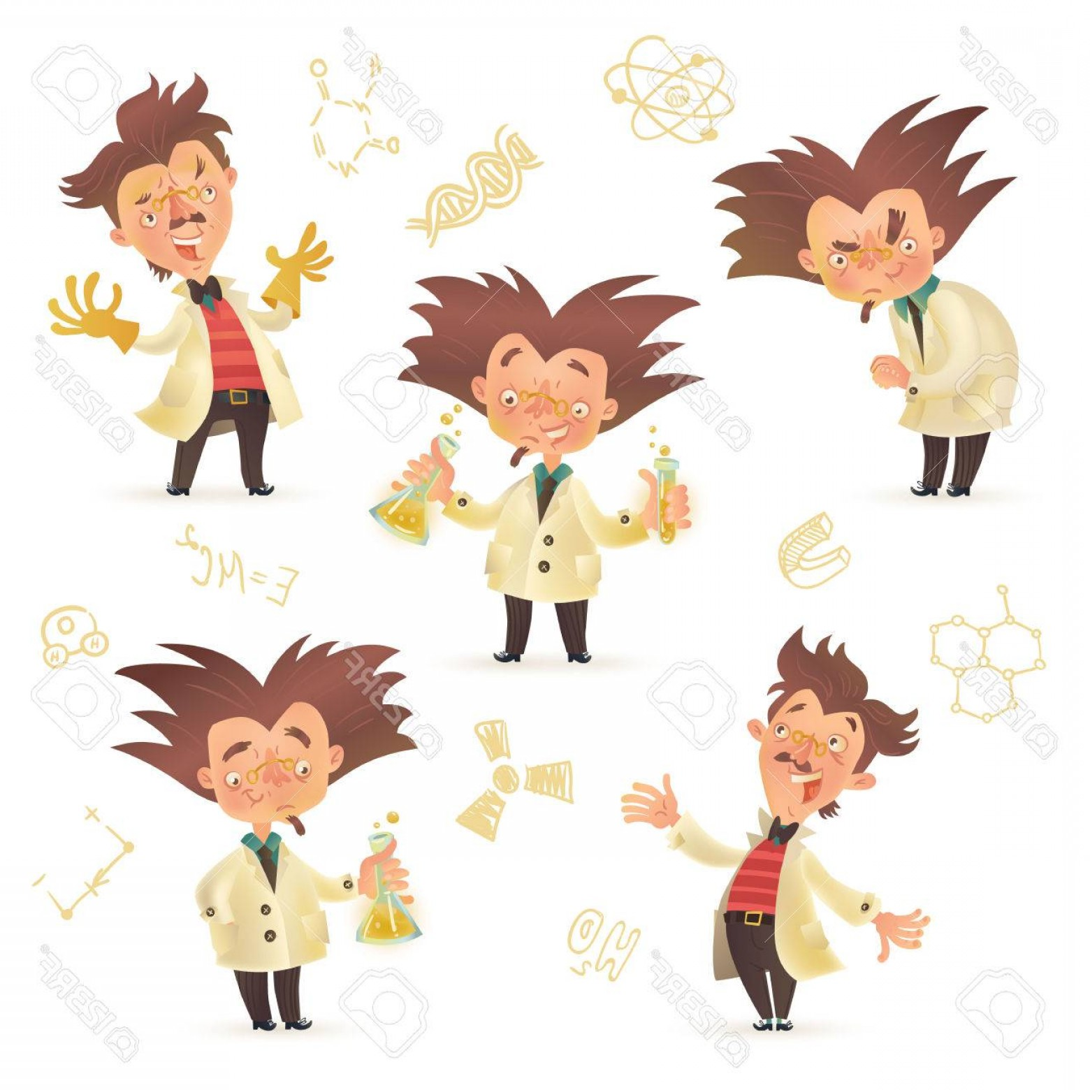 Lab Coat Cartoon Vector: Photostock Vector Stereotypic Bushy Haired Mad Professor Wearing Lab Coat In Various Poses Cartoon Illustration Isolat