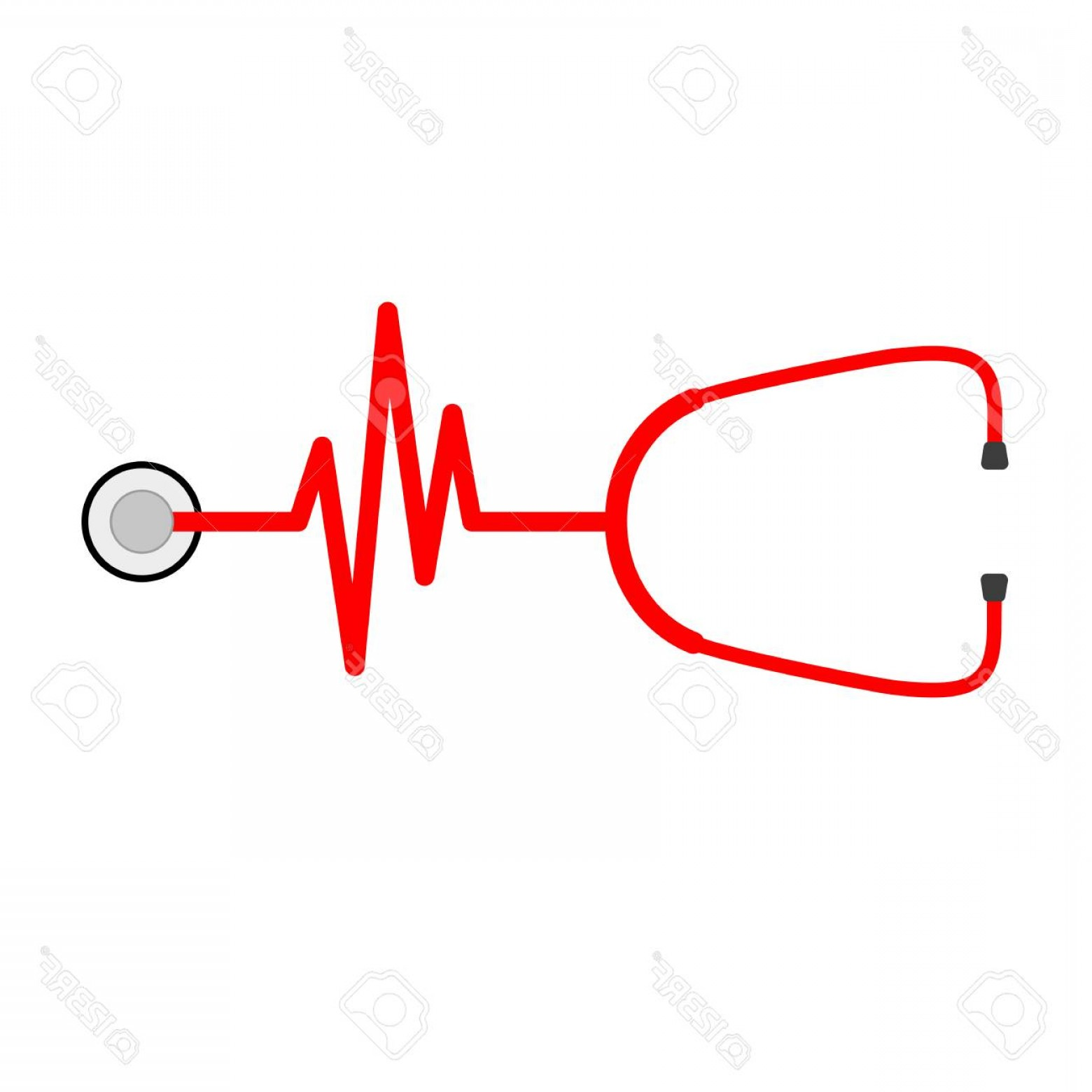 Heart Stethoscope With EKG Lines Vector: Photostock Vector Stethoscope In Shape Of Electrocardiogram Vector Illustration Stethoscope And Heartbeat Sign