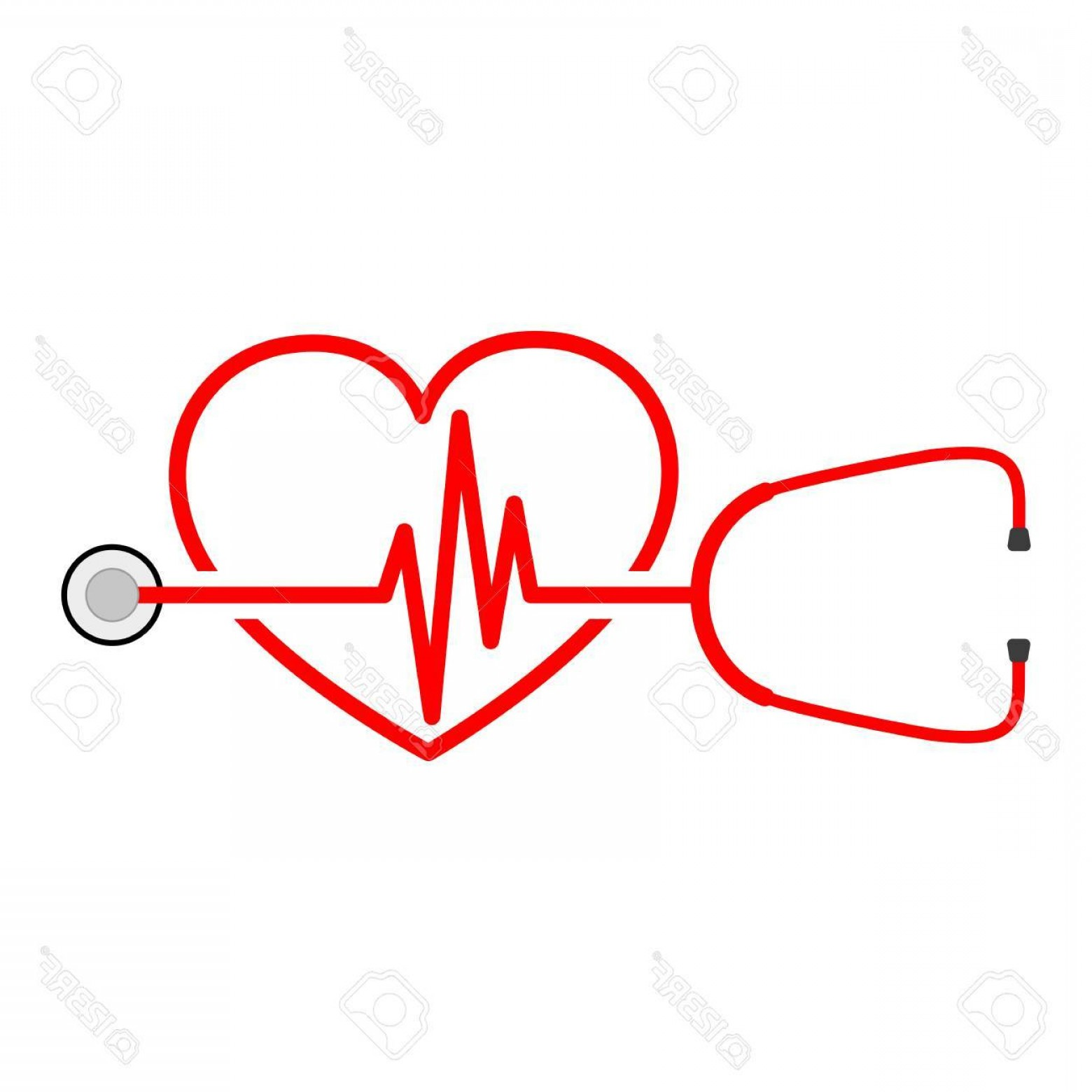 Heart Stethoscope With EKG Lines Vector: Photostock Vector Stethoscope In Shape Of Electrocardiogram Vector Illustration Stethoscope Heartbeat Sign And A Silho