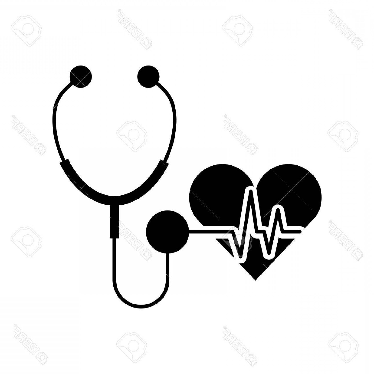 Stethoscope With Heart Vector Art: Photostock Vector Stethoscope Medical With Heart Vector Illustration Design