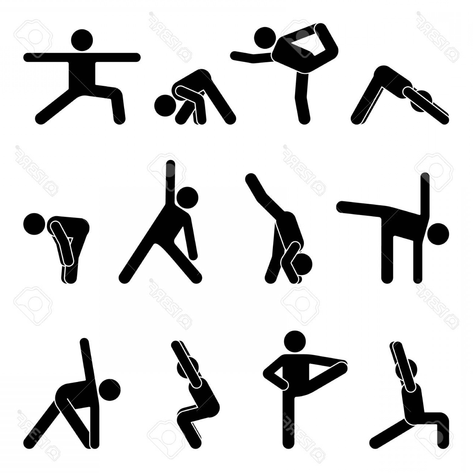 Yoga Stick Figure Vector: Photostock Vector Stick Figure Basic Yoga Position Set Vector Illustration