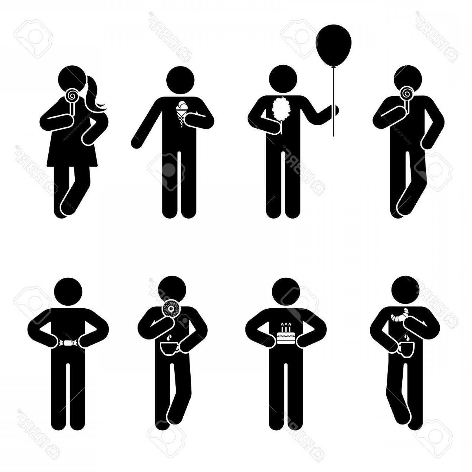 Stick Figure Positions Vector Set: Photostock Vector Stick Figure Different Eating Position Set Vector Illustration Of Snack Person Icon Symbol Sign Pict
