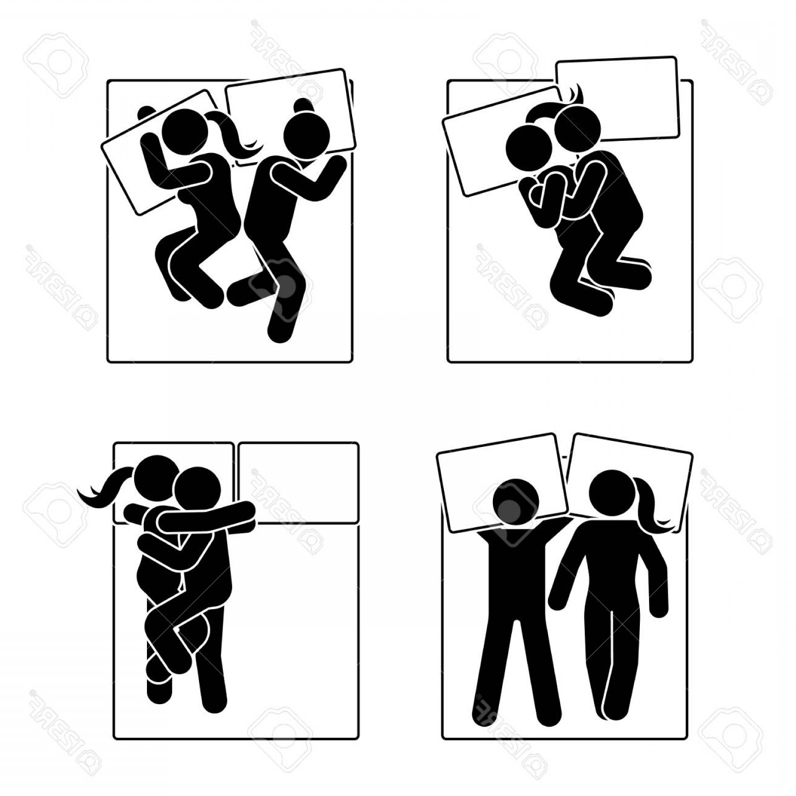 Stick Figure Positions Vector Set: Photostock Vector Stick Figure Different Sleeping Position Set Vector Illustration Of Different Dreaming Couple Poses