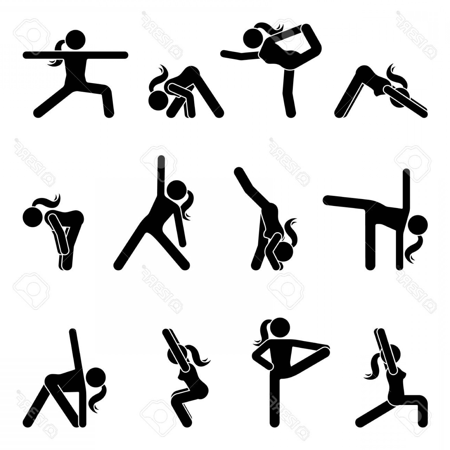 Vector Stick Figure Yoga Positions: Photostock Vector Stick Figure Girl Basic Yoga Position Set Vector Illustration Of Sportswoman Pictogram On White