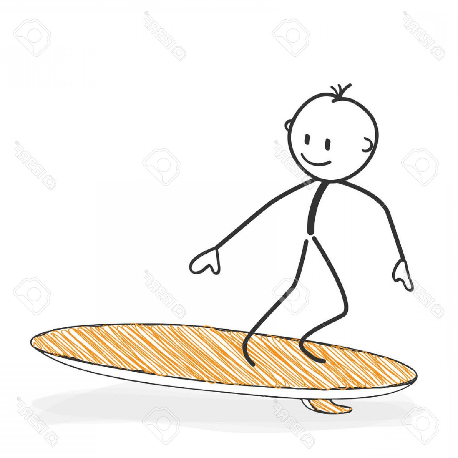 Surfboard Vector Drawing: Photostock Vector Stick Figure In Action Stickman On A Surfboard Icon He Has Fun Stick Man Vector Drawing With White B