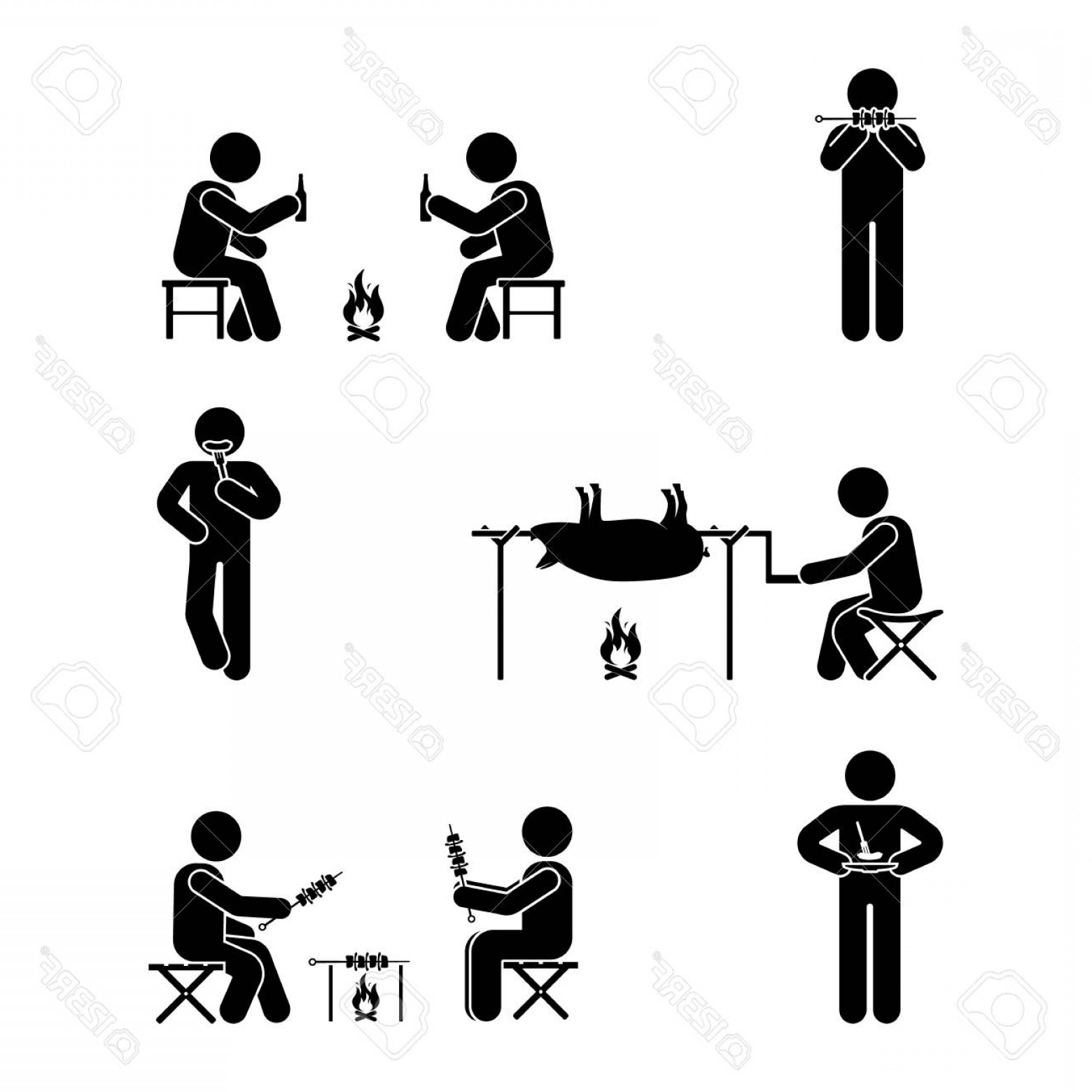Stick Figure Positions Vector Set: Photostock Vector Stick Figure Picnic Set Vector Illustration Of Barbecue Position Pictogram