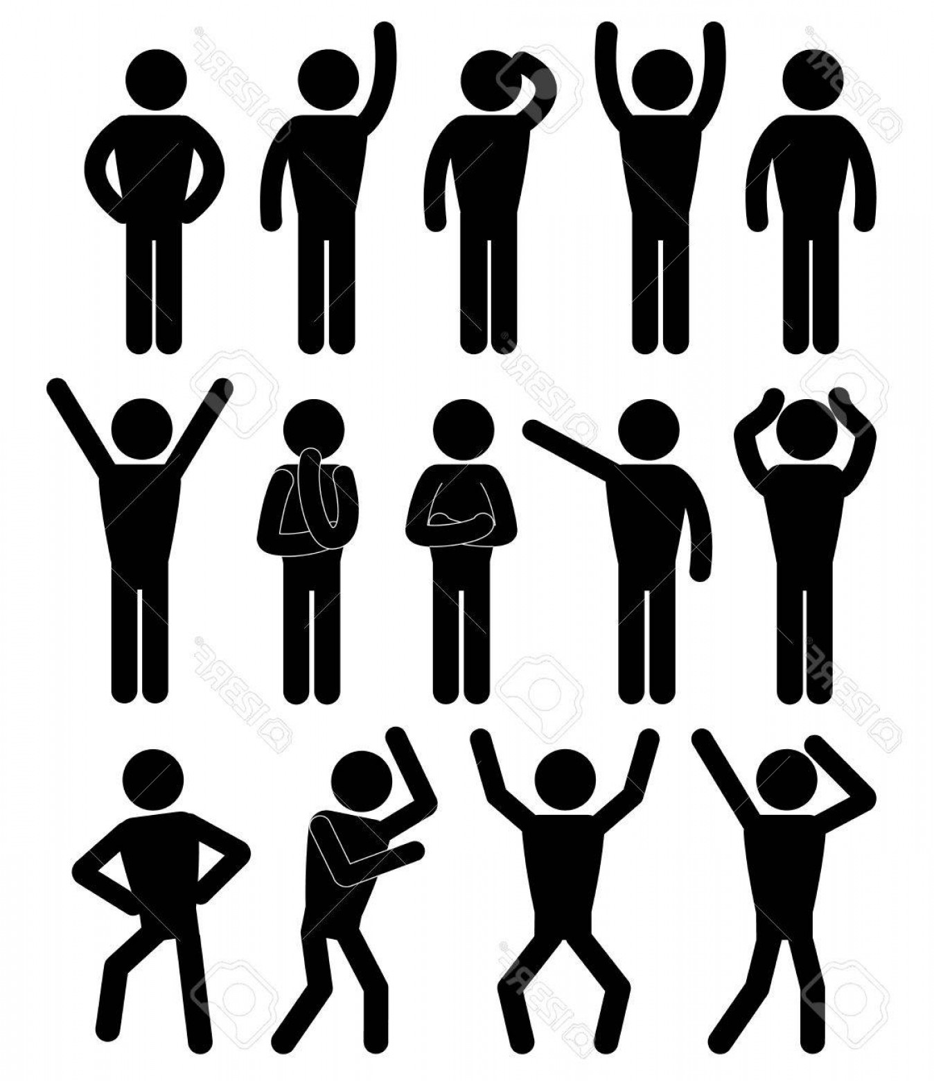Stick Figure Positions Vector Set: Photostock Vector Stick Figure Positions Set Vector Pictogram Icon