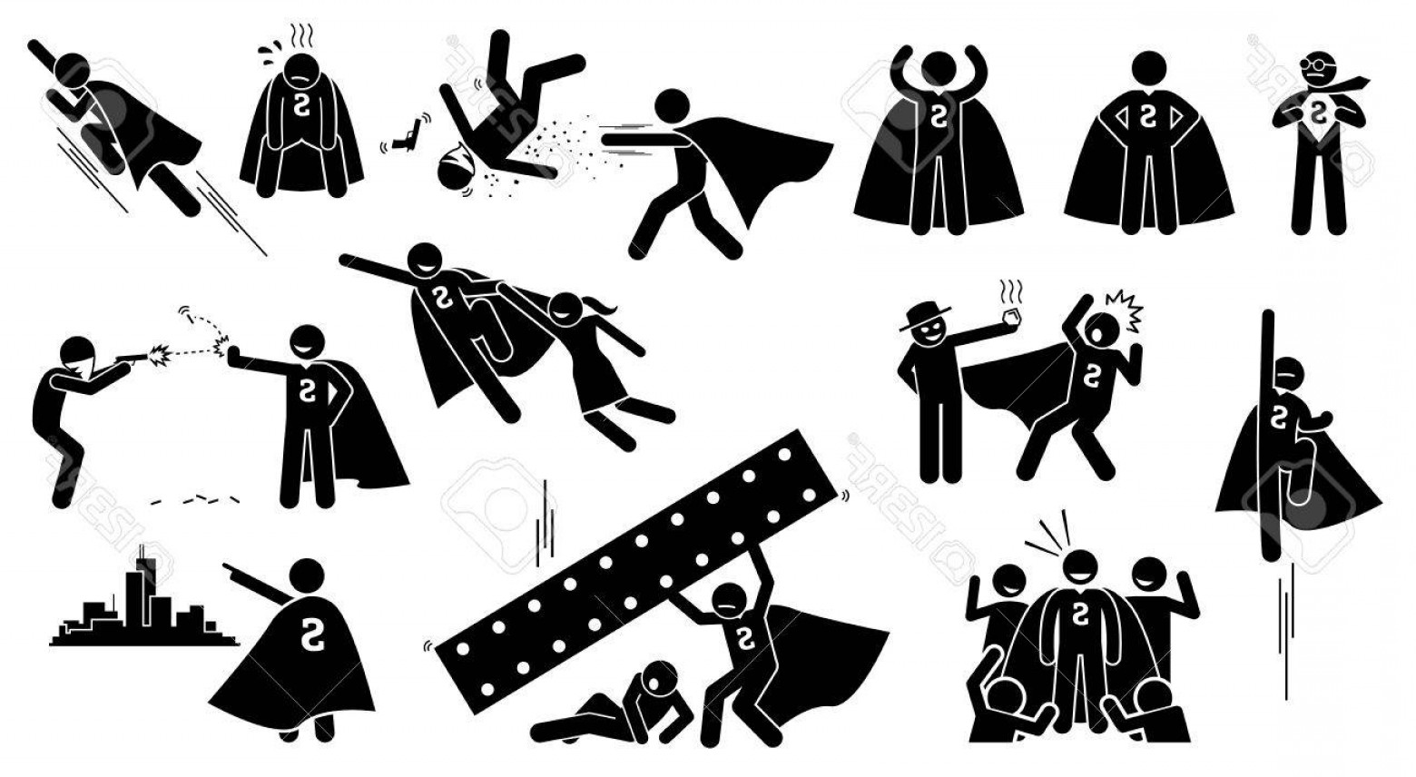 Superman Black And White Vector: Photostock Vector Stickman Superman Superhero Cliparts Depict A Hero Character In Actions The Superhero Is Beating Bad