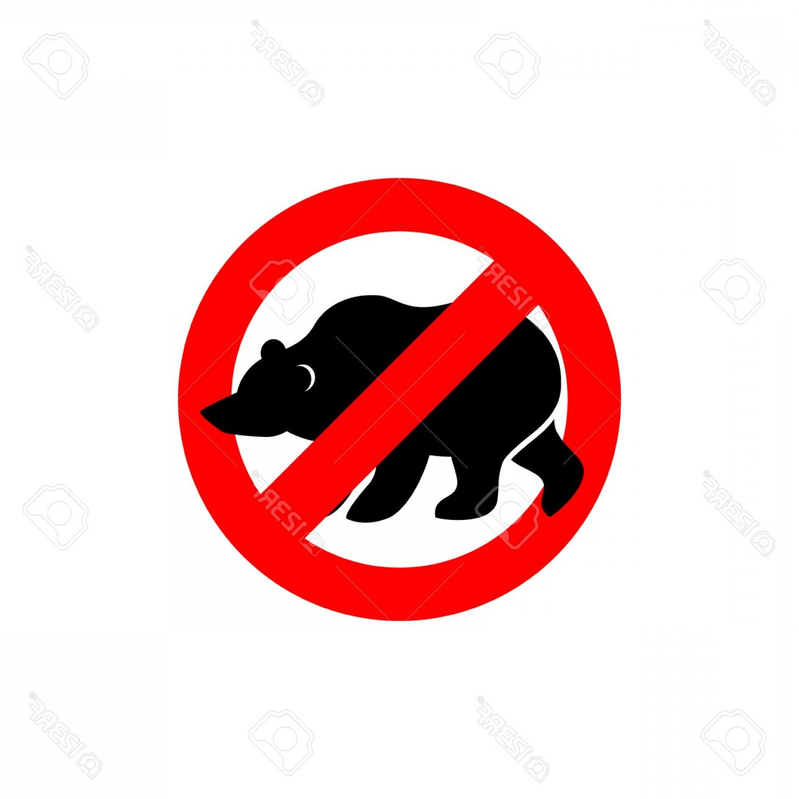 Road Sign Silhouette Vector Bear: Photostock Vector Stop Bear Banned Wild Animal Animal Silhouette Frozen Alaska Emblem Against A Wild Scary Beast Red F