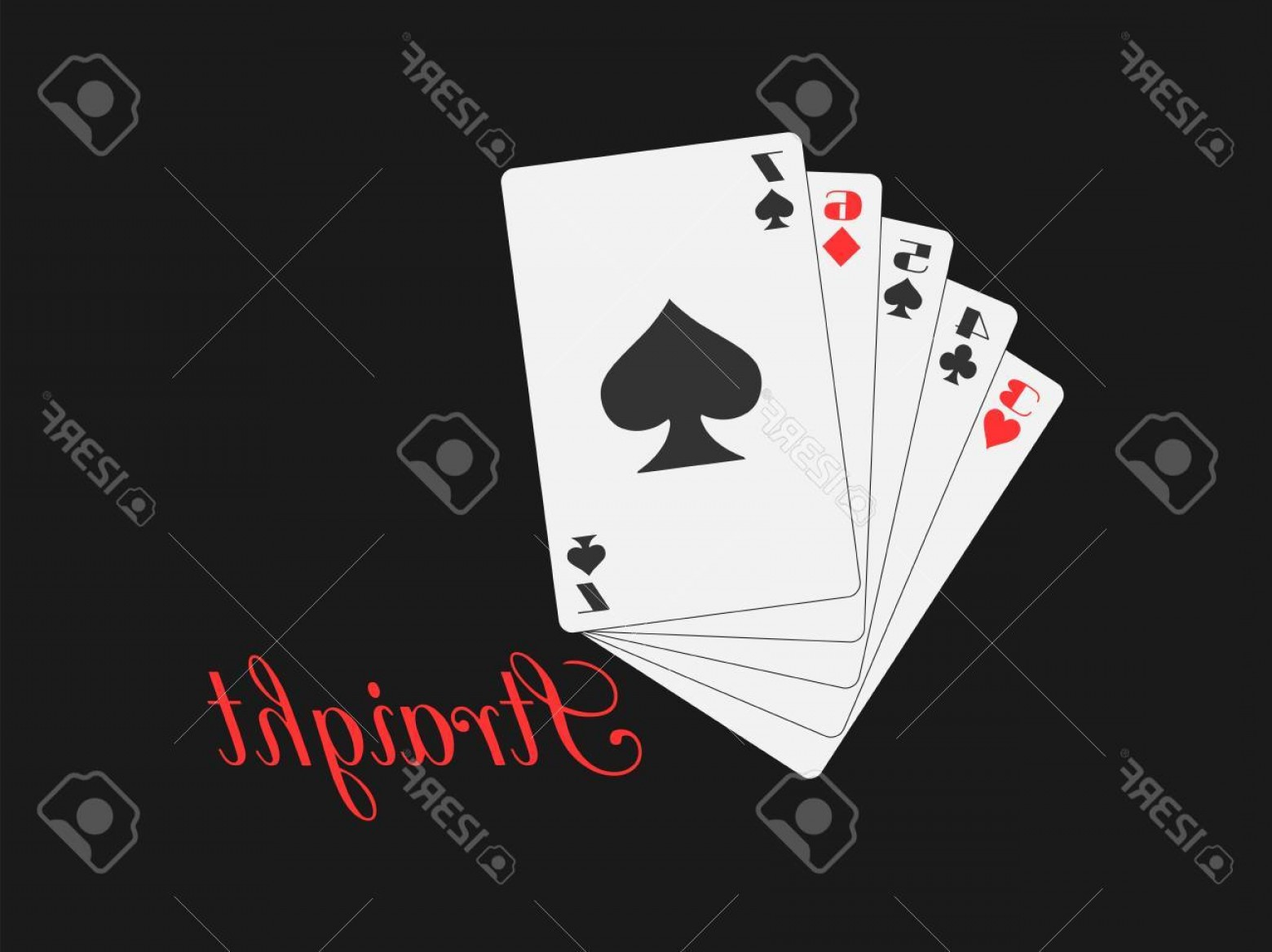 Poker Hand Vector: Photostock Vector Straight Playing Cards Poker Hand Vector Illustration