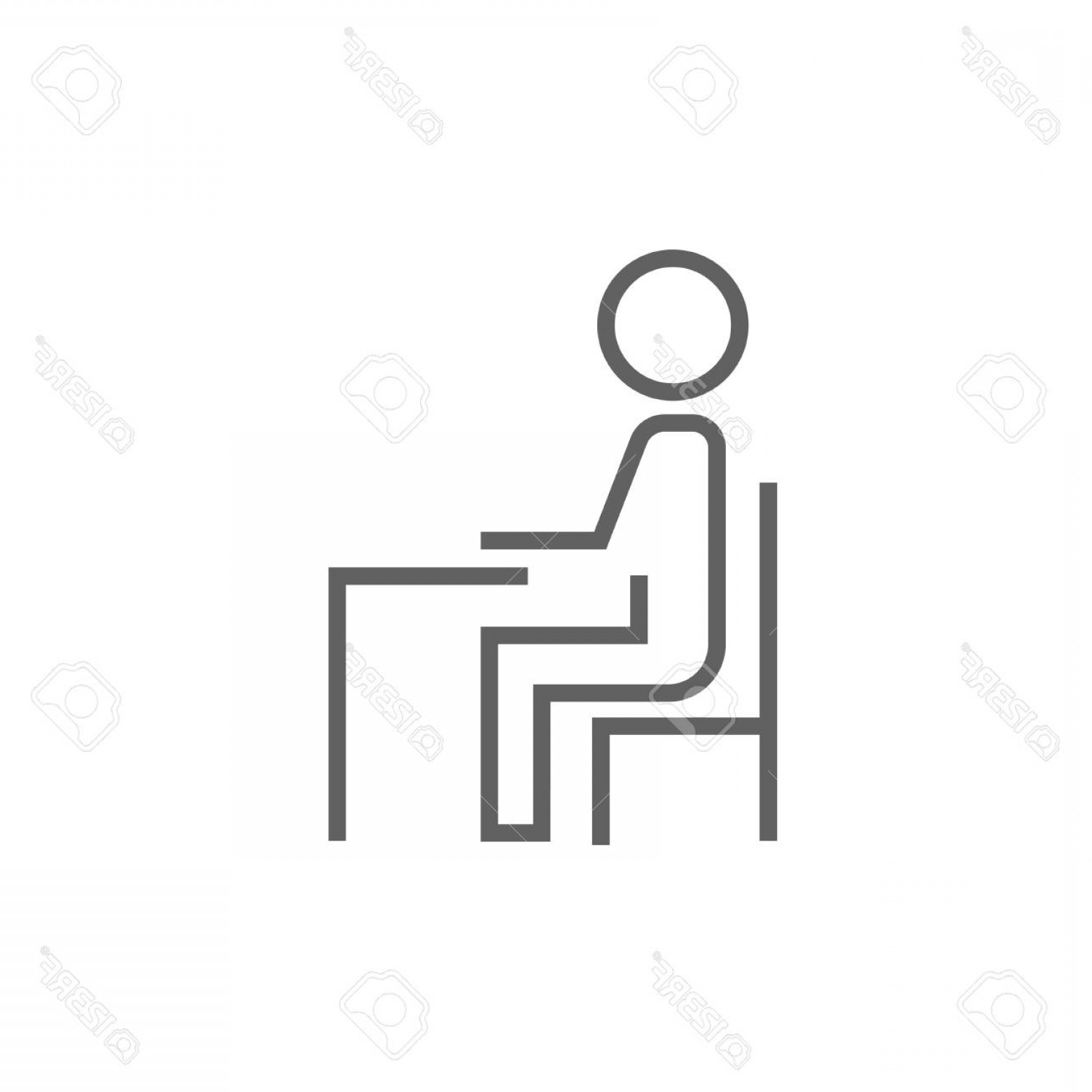 Student Desk Icon Vector: Photostock Vector Student Sitting On Chair At The Desk Thick Line Icon With Pointed Corners And Edges For Web Mobile A