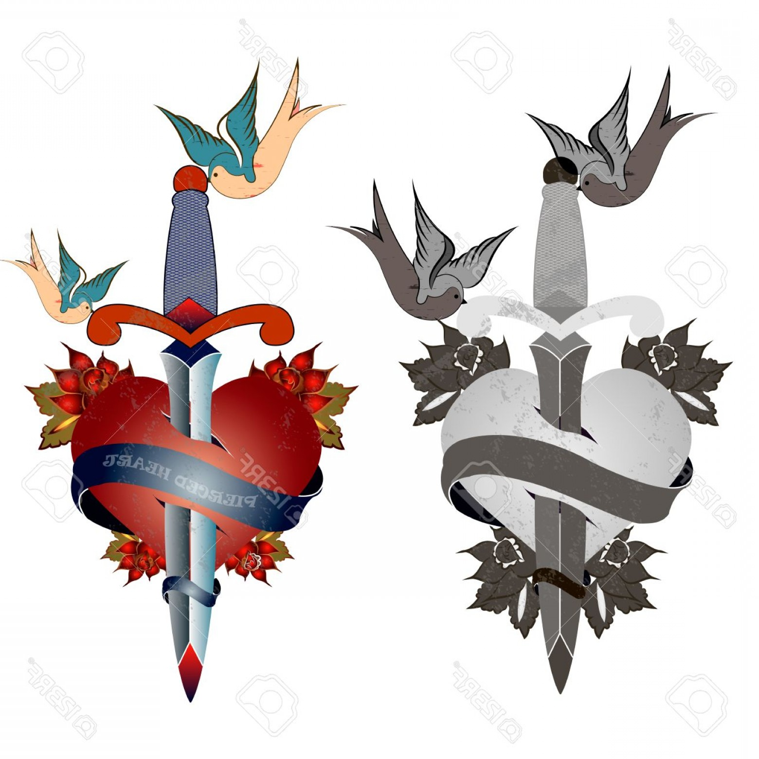 Old School Airplane Fighter Silhouette Vector: Photostock Vector Style Tattoo Old School Grunge Heart Pierced With A Sword Birds Flowers Black And White And Color