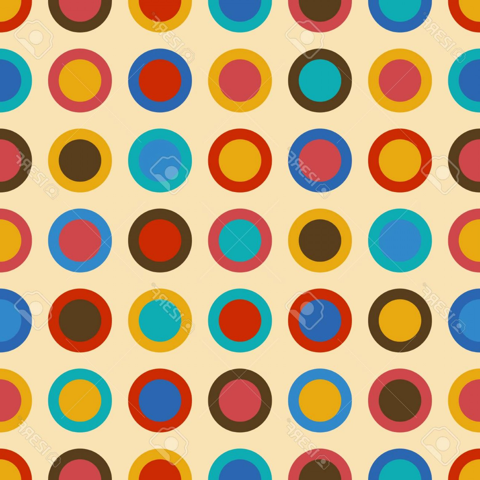 Blue And Orange Circle Vector: Photostock Vector Stylish Background Seamless Pattern With Red Blue Brown And Orange Circles In Vintage Or Retro Style