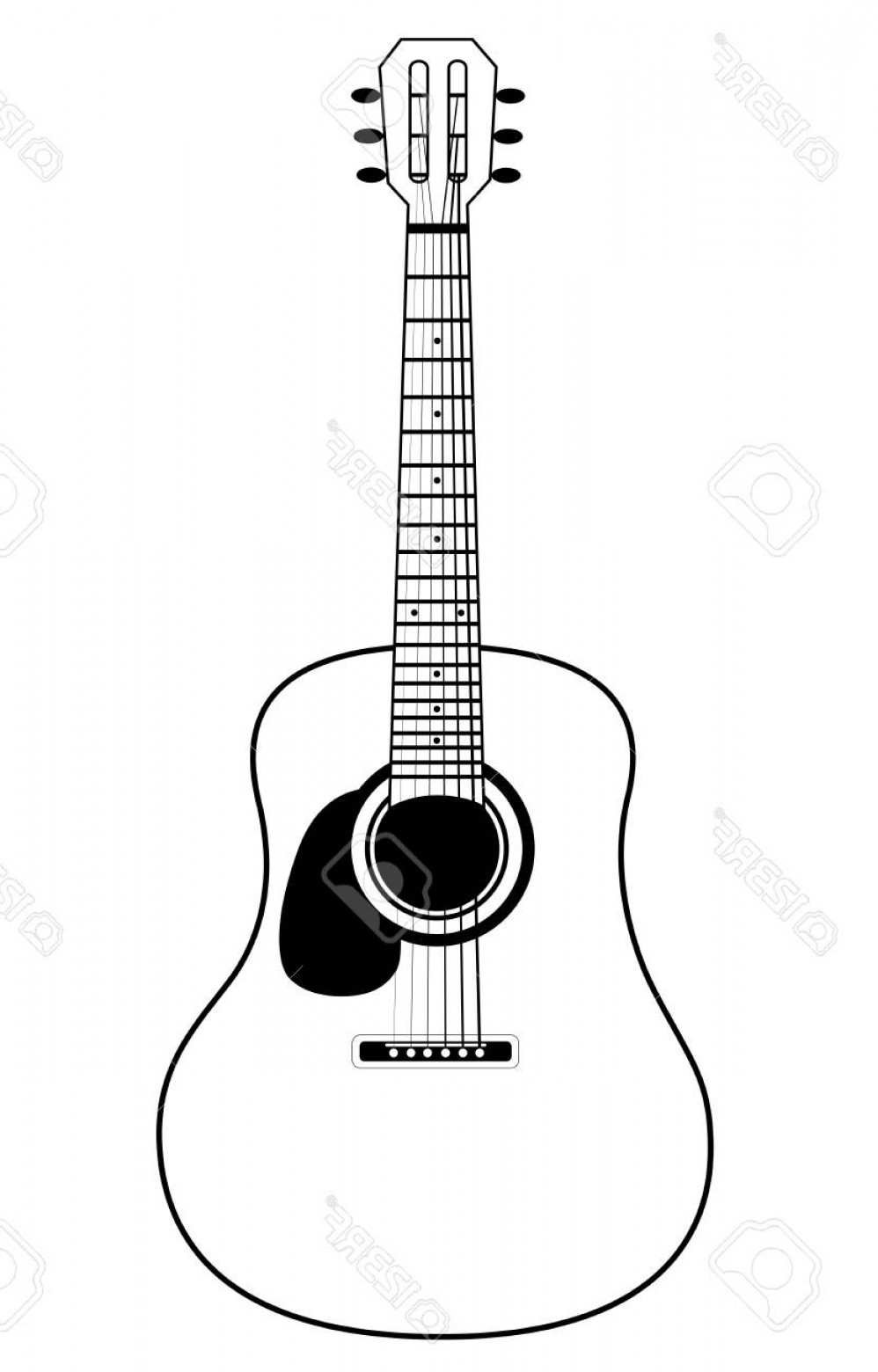 Vector Guitar Clip Art Black And White: Photostock Vector Stylized Acoustic Guitar Isolated On A White Background