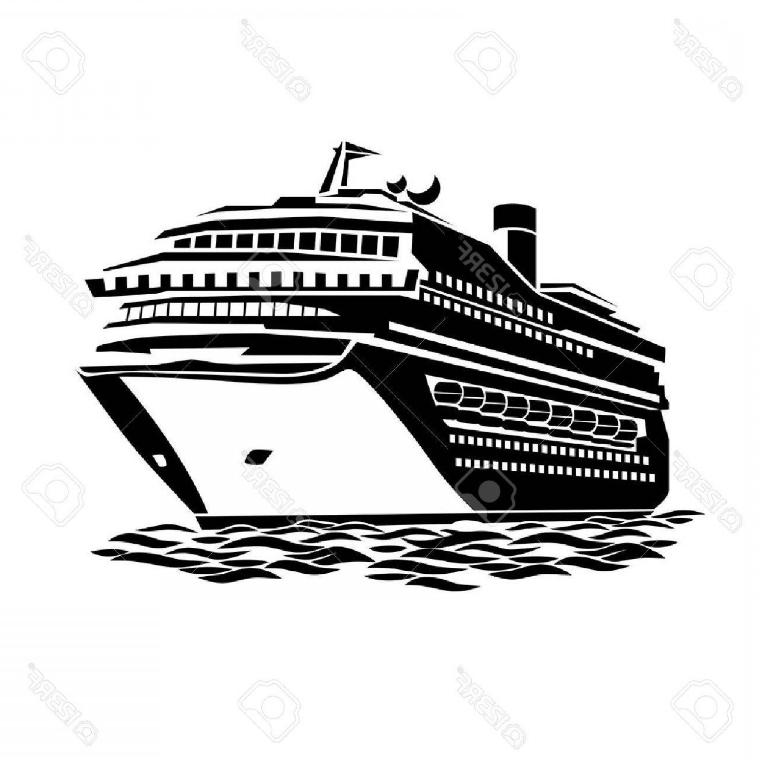 Waves With Cruise Ship Silhouette Vector: Photostock Vector Stylized Illustration Of A Large Cruise Ship On The Ocean Waves