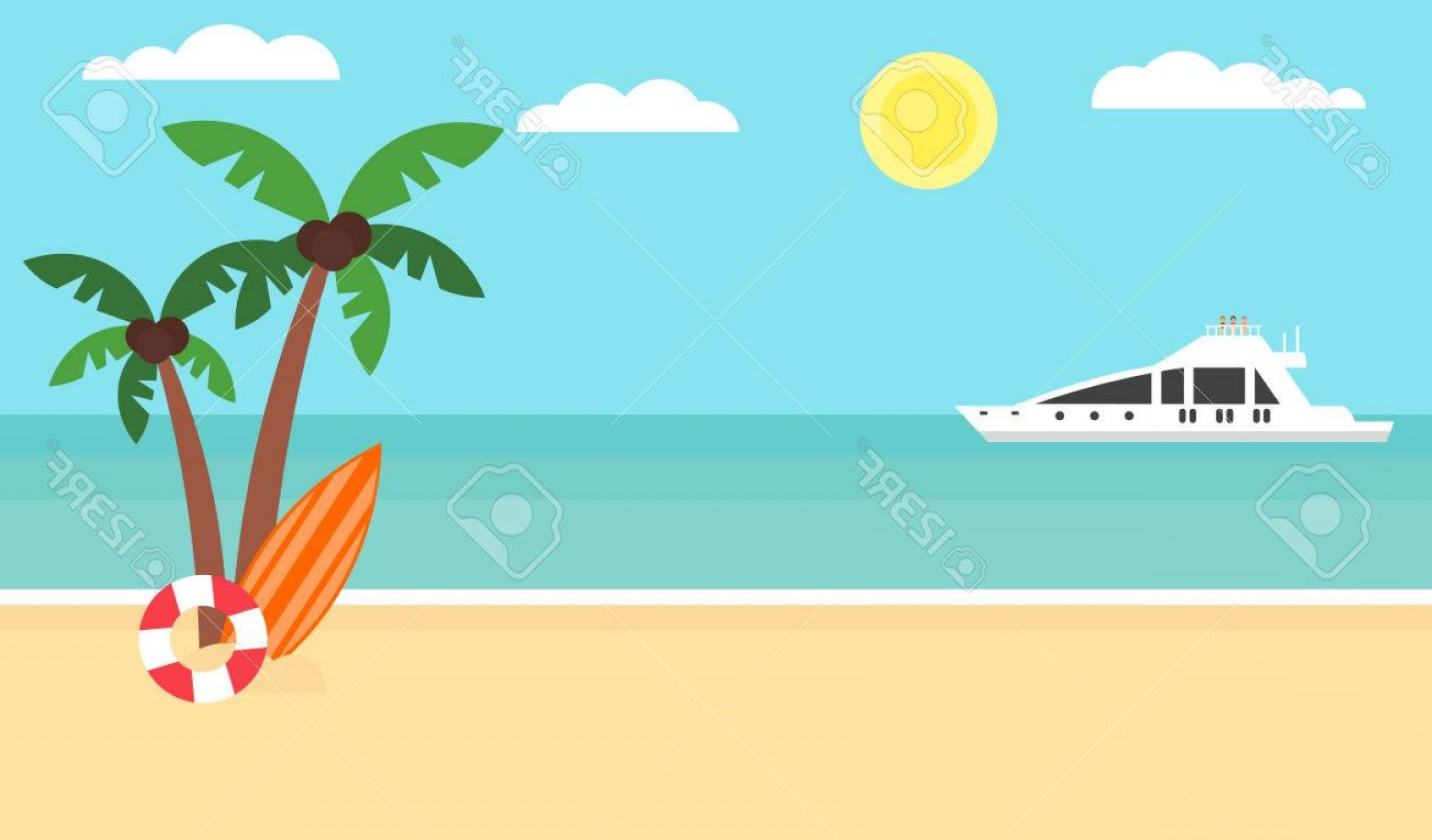 Flat Vector Background Sunset: Photostock Vector Summer Background Sunset Beach Sea Yacht And A Palm Tree Modern Flat Design