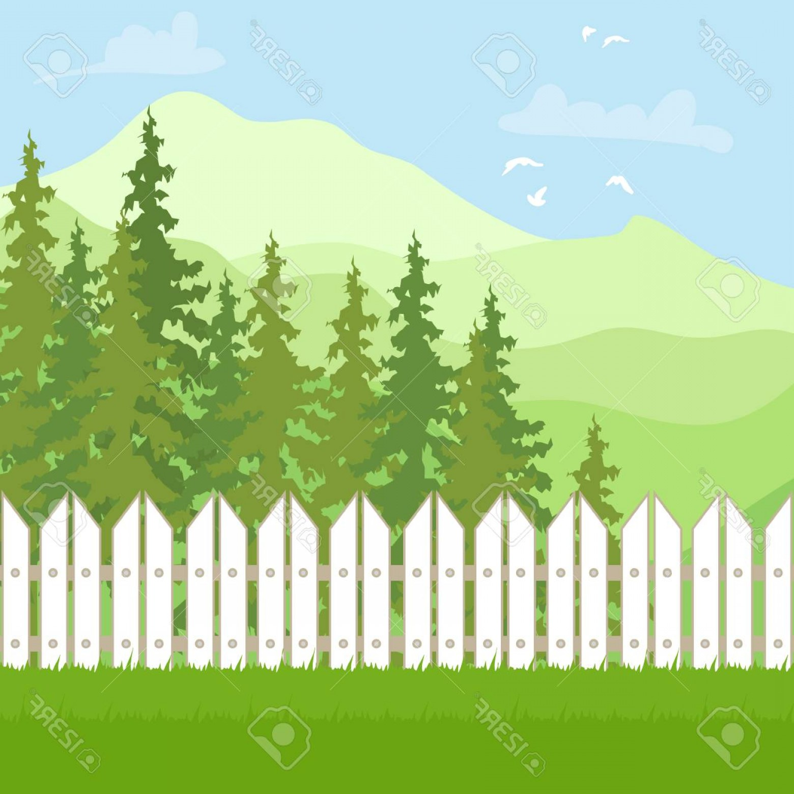 Outdoor Fence Vector: Photostock Vector Summer Outdoor Recreation Mountain Landscape With Forest And Fence Vector Illustration
