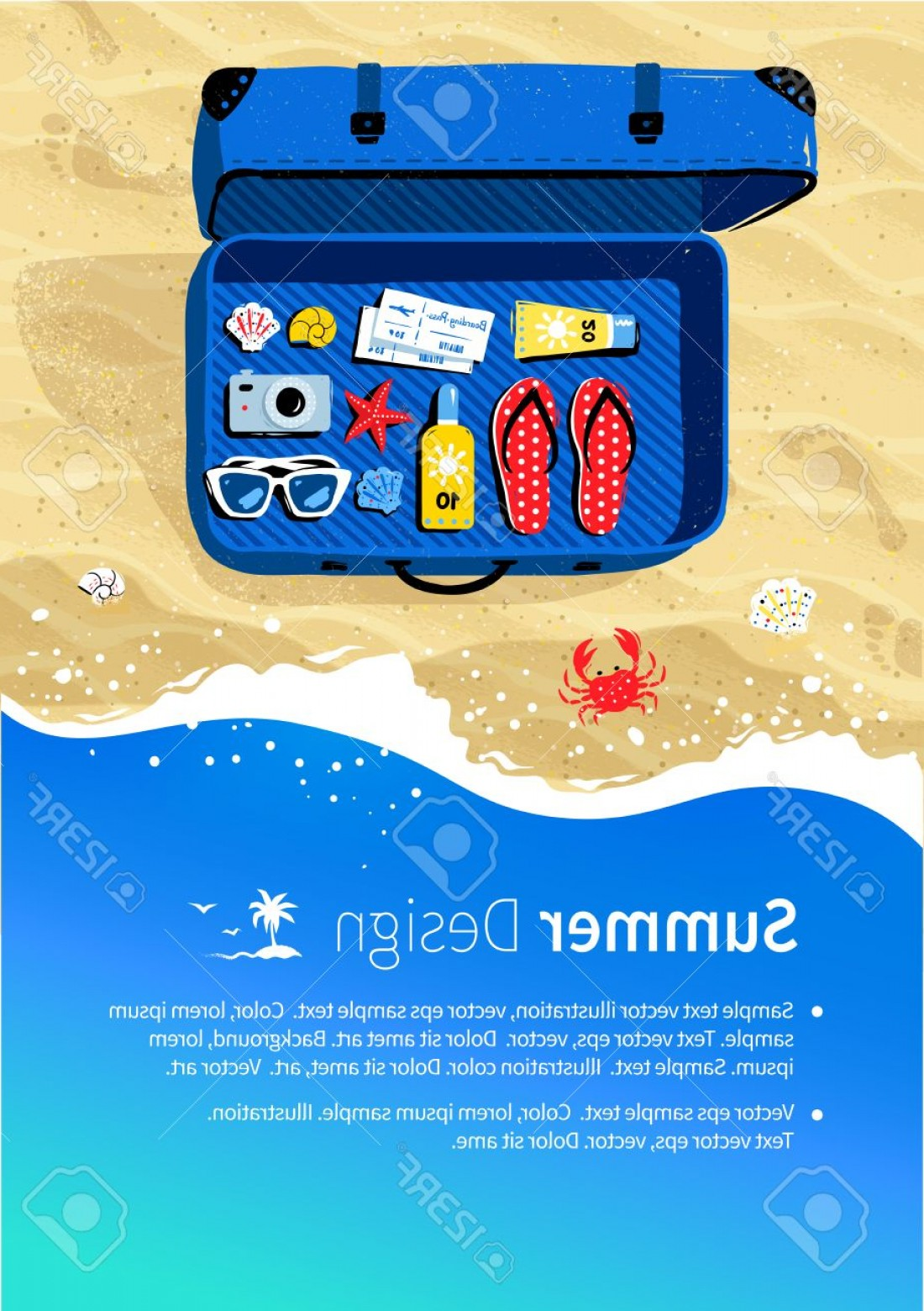 Vector Travel APS: Photostock Vector Summer Vacation Flyer Design With Top View Travel Suitcase With Accessories On Beach Sand And Sea Su