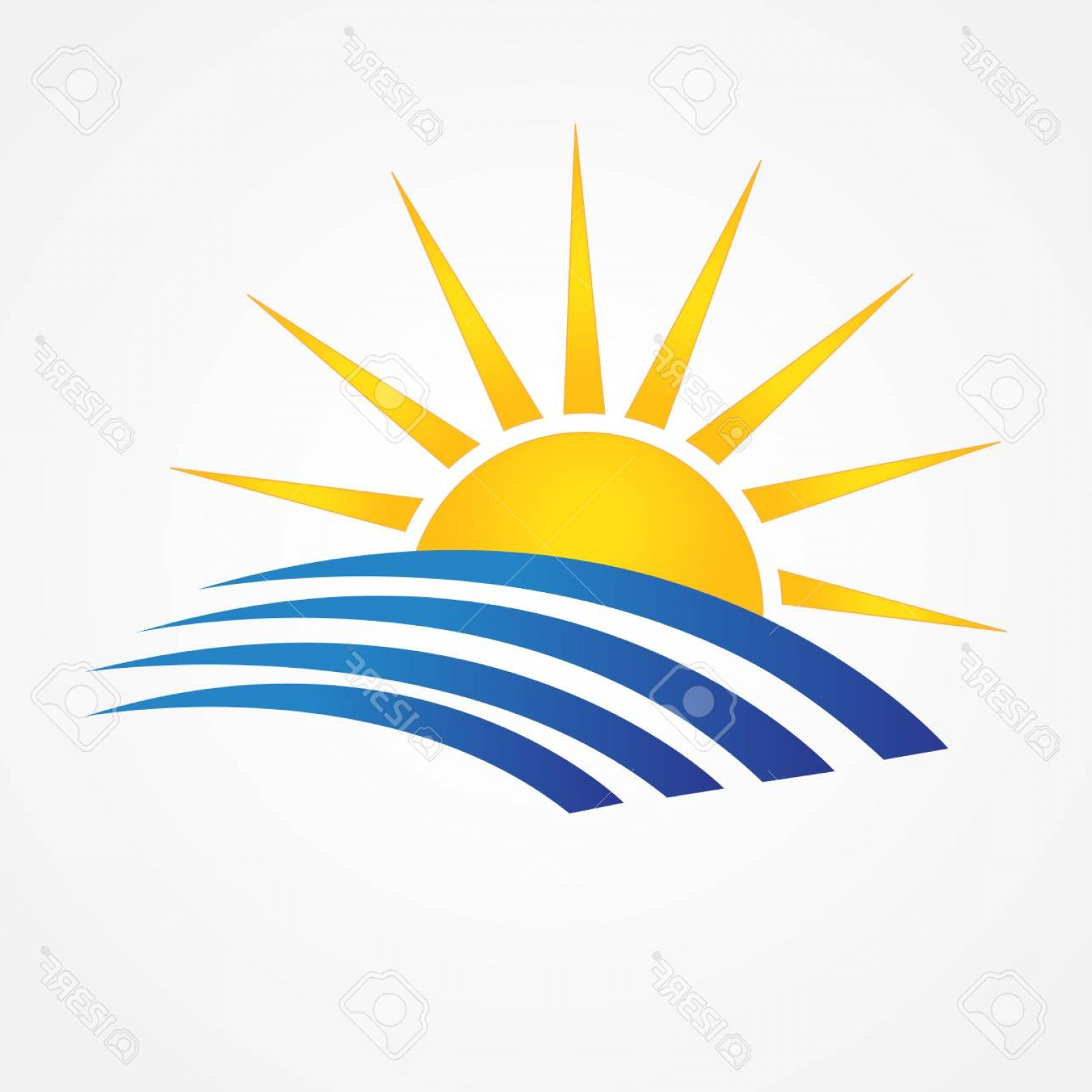 Vector Swoosh Simple Two Line: Photostock Vector Sun With Beach Swooshes Line Art Blue Ocean Water Id Business Brand Icon