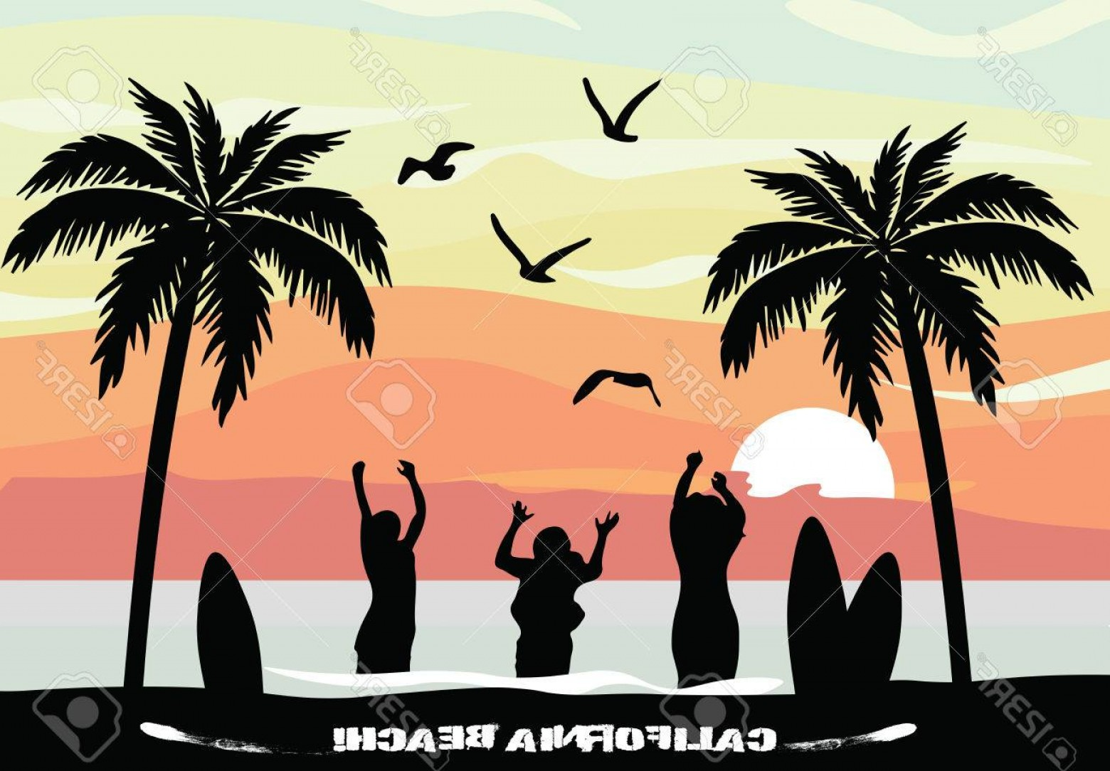 Surfer Beach Sunset Vector: Photostock Vector Sunset Beauty Card Summer Beach With Party People Surfing Bords And Palm Trees California Card Vecto