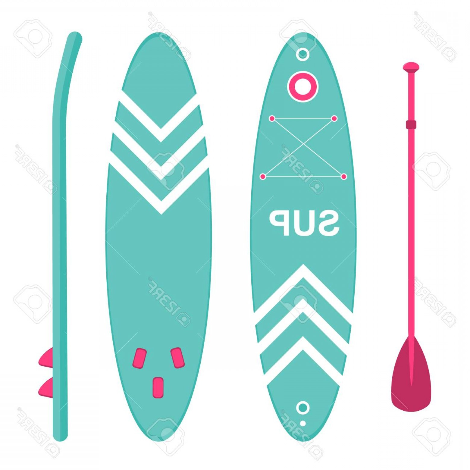 Paddleboard Vector Icons: Photostock Vector Sup Board Three Sides Sports And Leisure Icon Vector Illustration