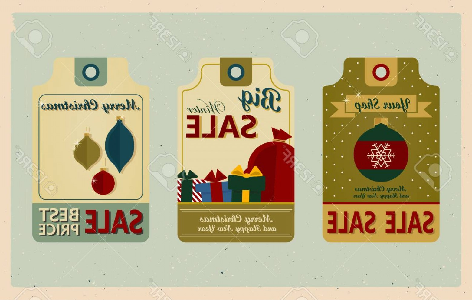 Vintage Xmas Sale Tag Vector: Photostock Vector Supermarket Sale Tags Retro Style Christmas Sale Tags In Vintage Style On Winter Sell Out Labels Col
