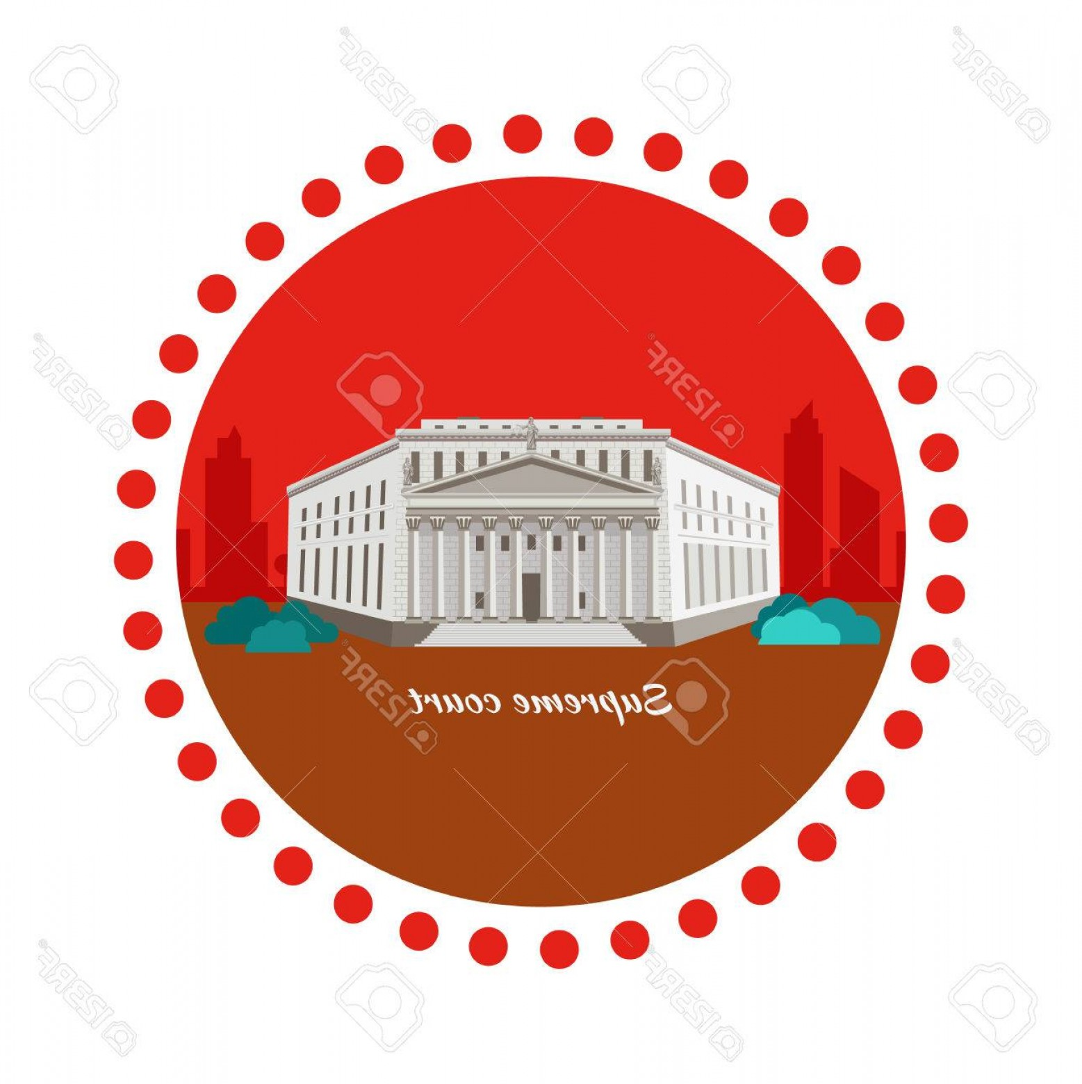 Supreme Logo Vector: Photostock Vector Supreme Court Concept Icon Flat Design Justice And Law Legal Decision Legislation Equality Building