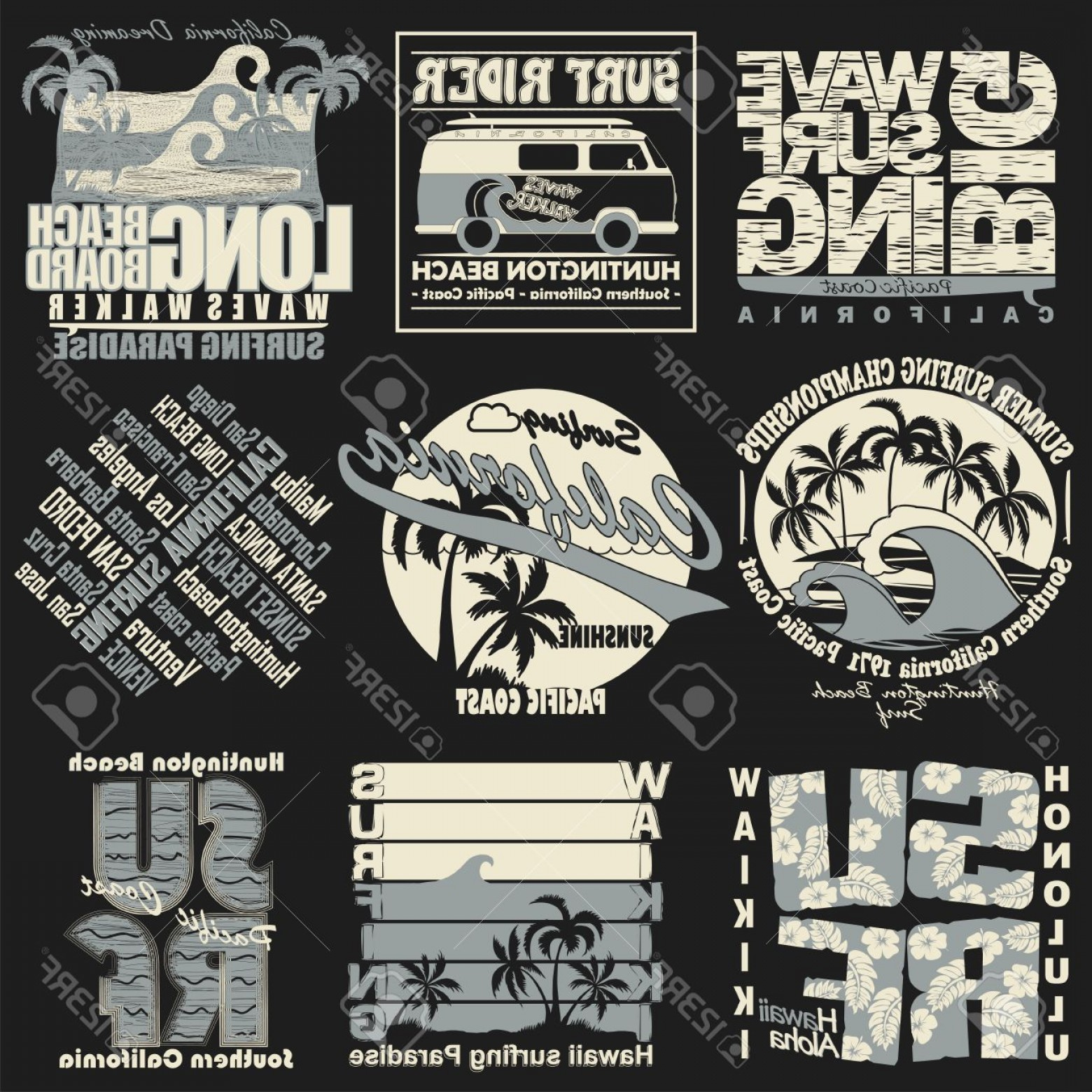 California Lifestyle Vector: Photostock Vector Surf Typography Label Set Surfing T Shirt Graphic Design California Hawaii Sport Summer Retro Style