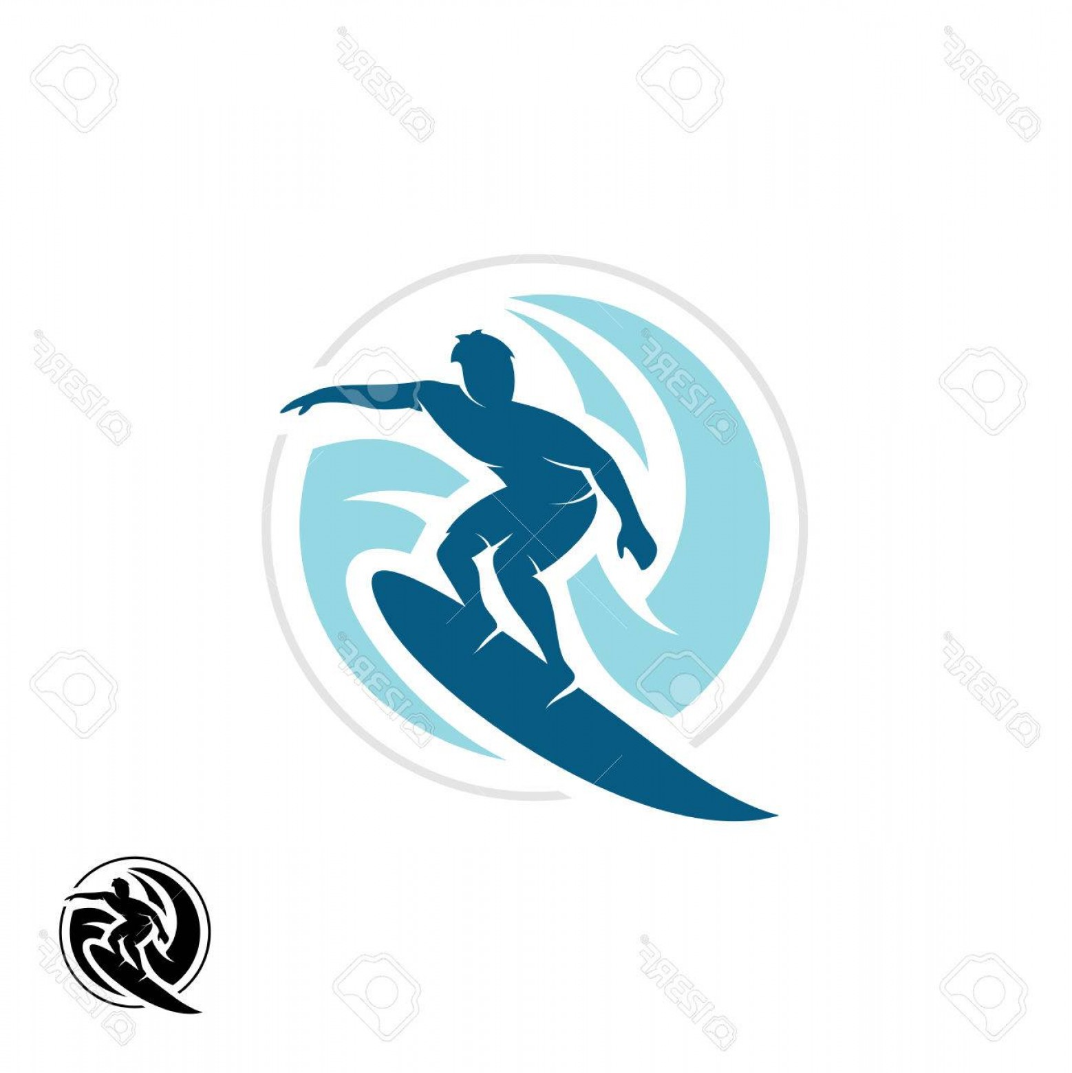 Waves With Surfer Silhouette Vector: Photostock Vector Surf With Man Silhouette Board And Sea Waves Water Twirl In A Round Shape