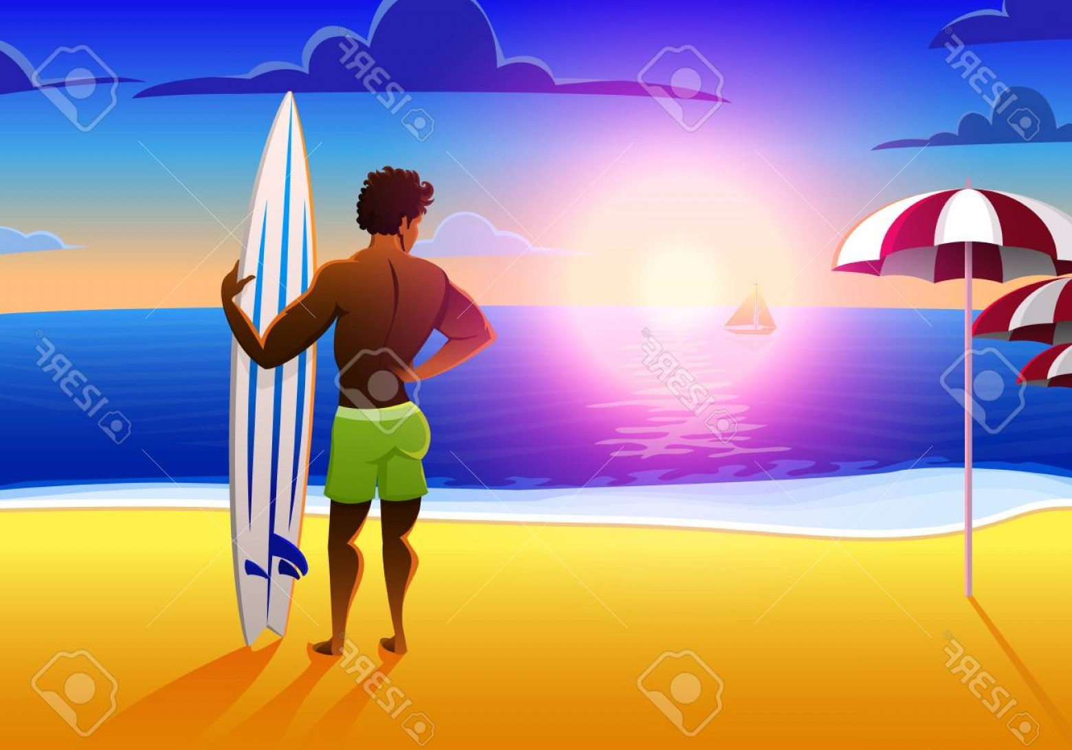 Surfer Beach Sunset Vector: Photostock Vector Surfer On The Ocean Beach At Sunset With Surfboard Vector Illustration Vintage Effect Sports African