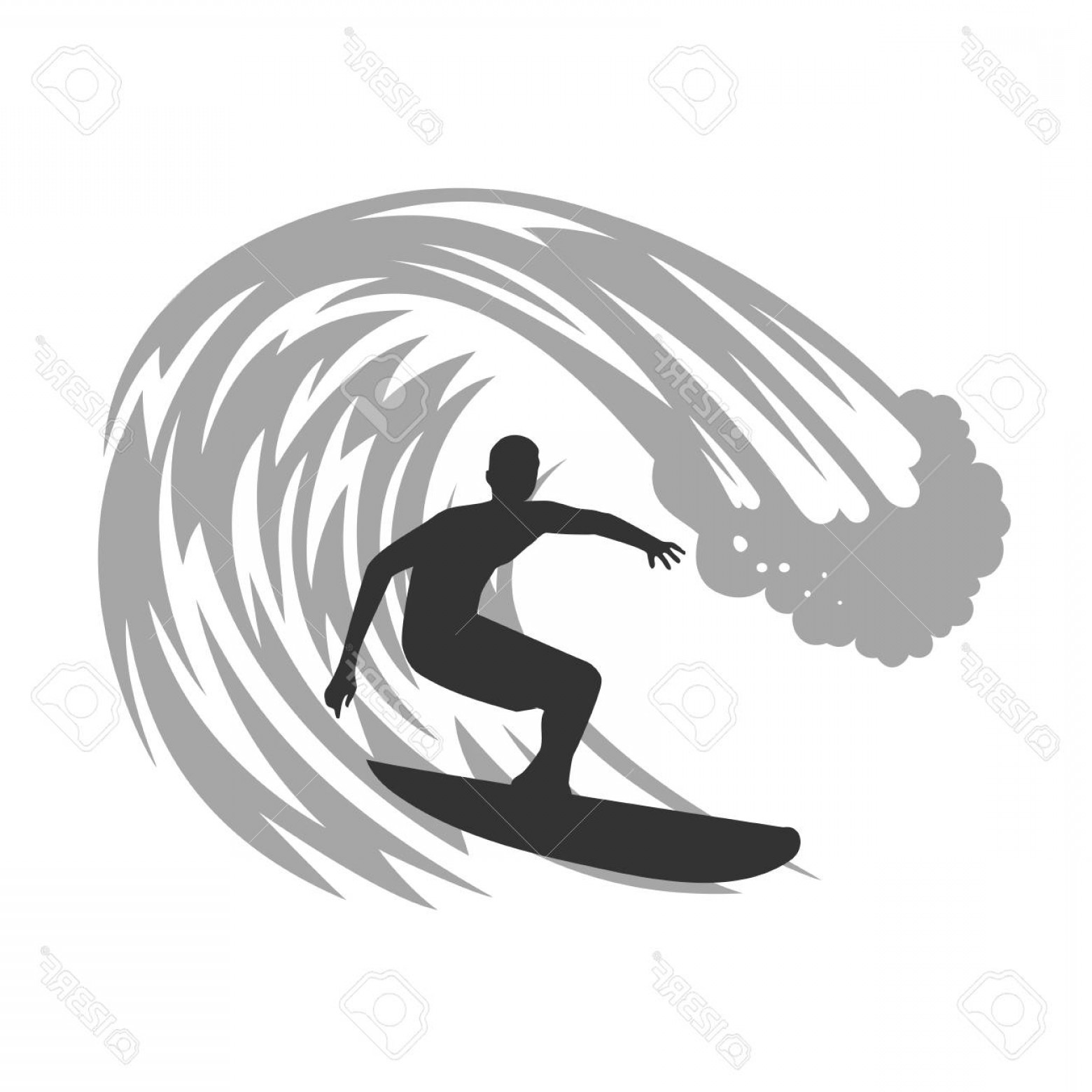 Waves With Surfer Silhouette Vector: Photostock Vector Surfer On Wave Vector Illustration