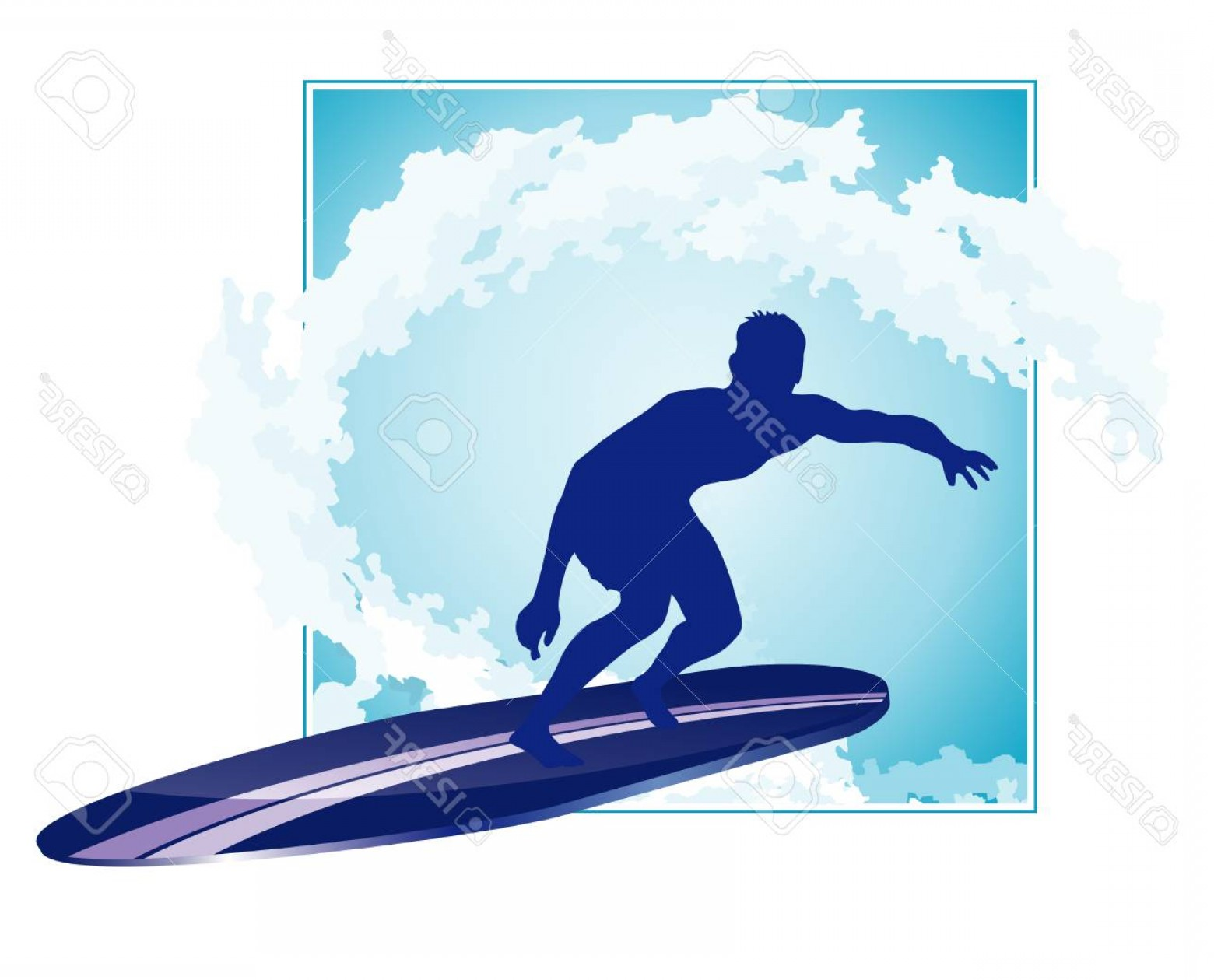 Waves With Surfer Silhouette Vector: Photostock Vector Surfer Silhouette With Abstract Wave Background