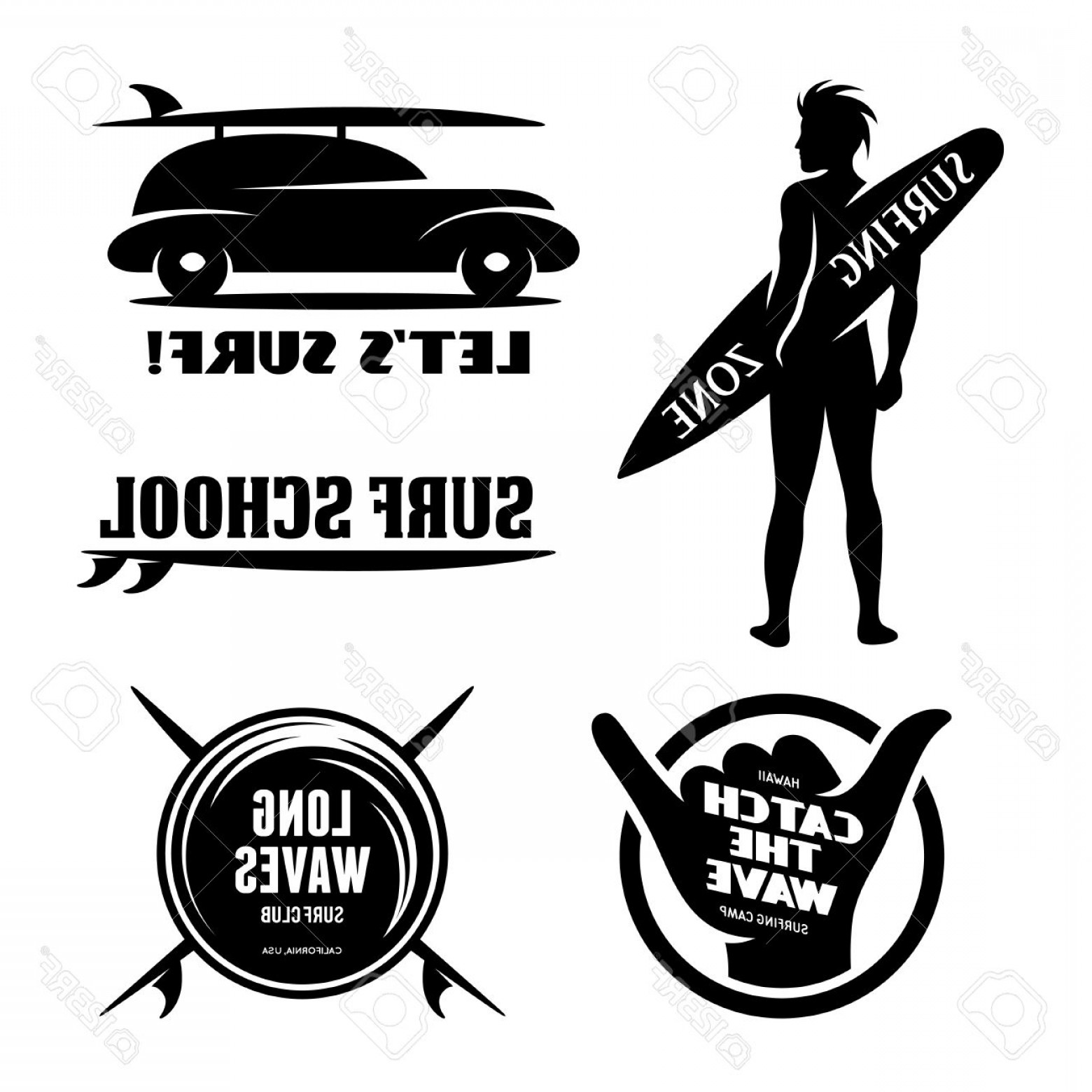 California Seal Vector EPS: Photostock Vector Surfing Related Labels Set Catch The Wave Quotes About Surfing Surf Car With Surfboard Surfer Silhou