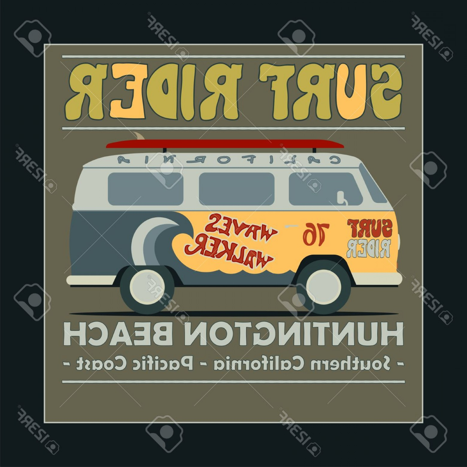 California Lifestyle Vector: Photostock Vector Surfing T Shirt Graphic Design Vintage Retro Surf Bus Surf Lifestyle Huntington Beach Surf Typograph