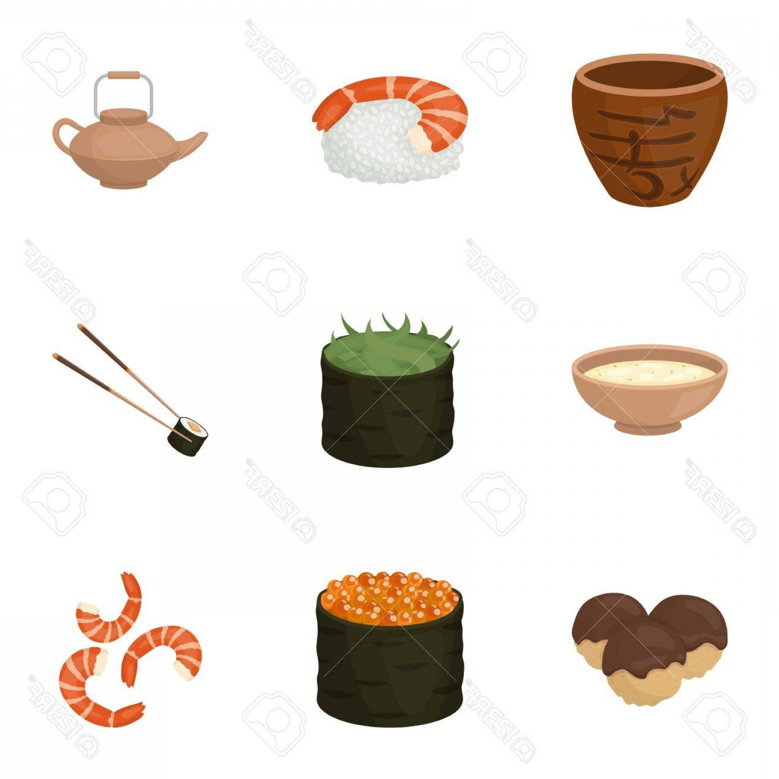 Sushi Vector Art: Photostock Vector Sushi Set Icons In Cartoon Style Big Collection Of Sushi Vector Symbol Stock Illustration