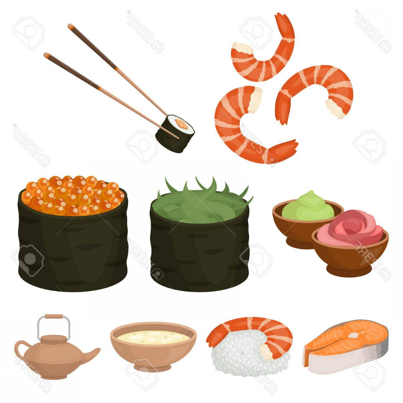 Sushi Vector Art: Photostock Vector Sushi Set Icons In Cartoon Style Big Collection Of Sushi Vector Symbol Stock