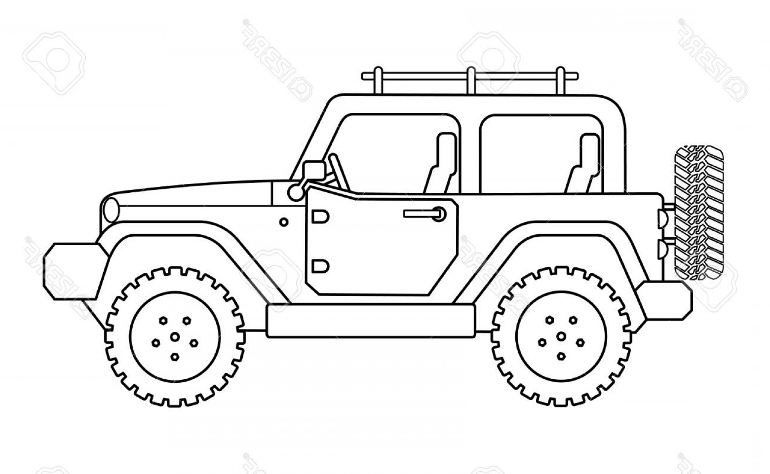 Jeep Tire Vector: Photostock Vector Suv Jeep For Safari And Extreme Travel Drawing Vector Eps