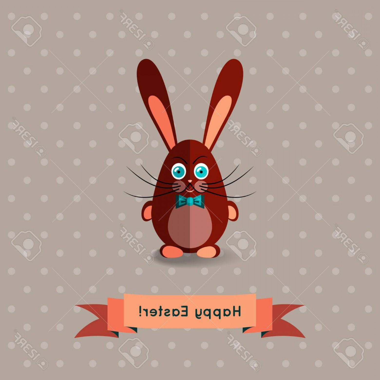Chocolate Bunny Vector: Photostock Vector Sweet Chocolate Bunny Vector Template With Flat Design Happy Easter