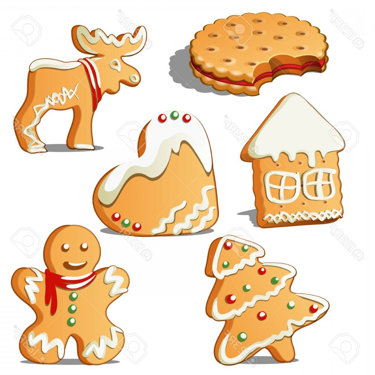 Vectors Holiday Baking: Photostock Vector Sweet Holiday Baking Cookies In Form Of A Star House Christmas Tree Heart Reindeer Gingerbread Man W