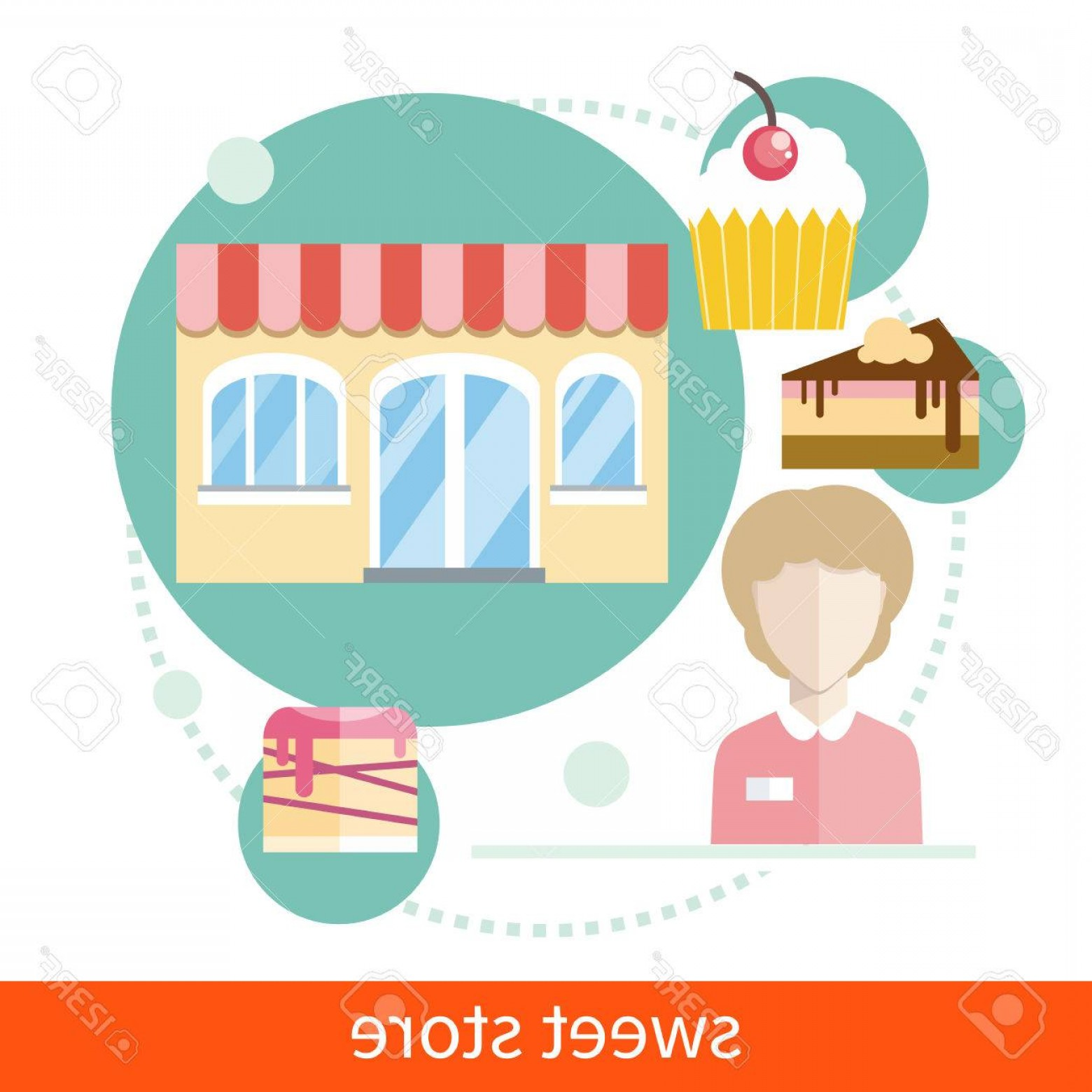 Candy Seller Vector: Photostock Vector Sweet Store Concept In Flat Design With Seller Near Chocolate Muffins Donuts Cakes And Candies Icons
