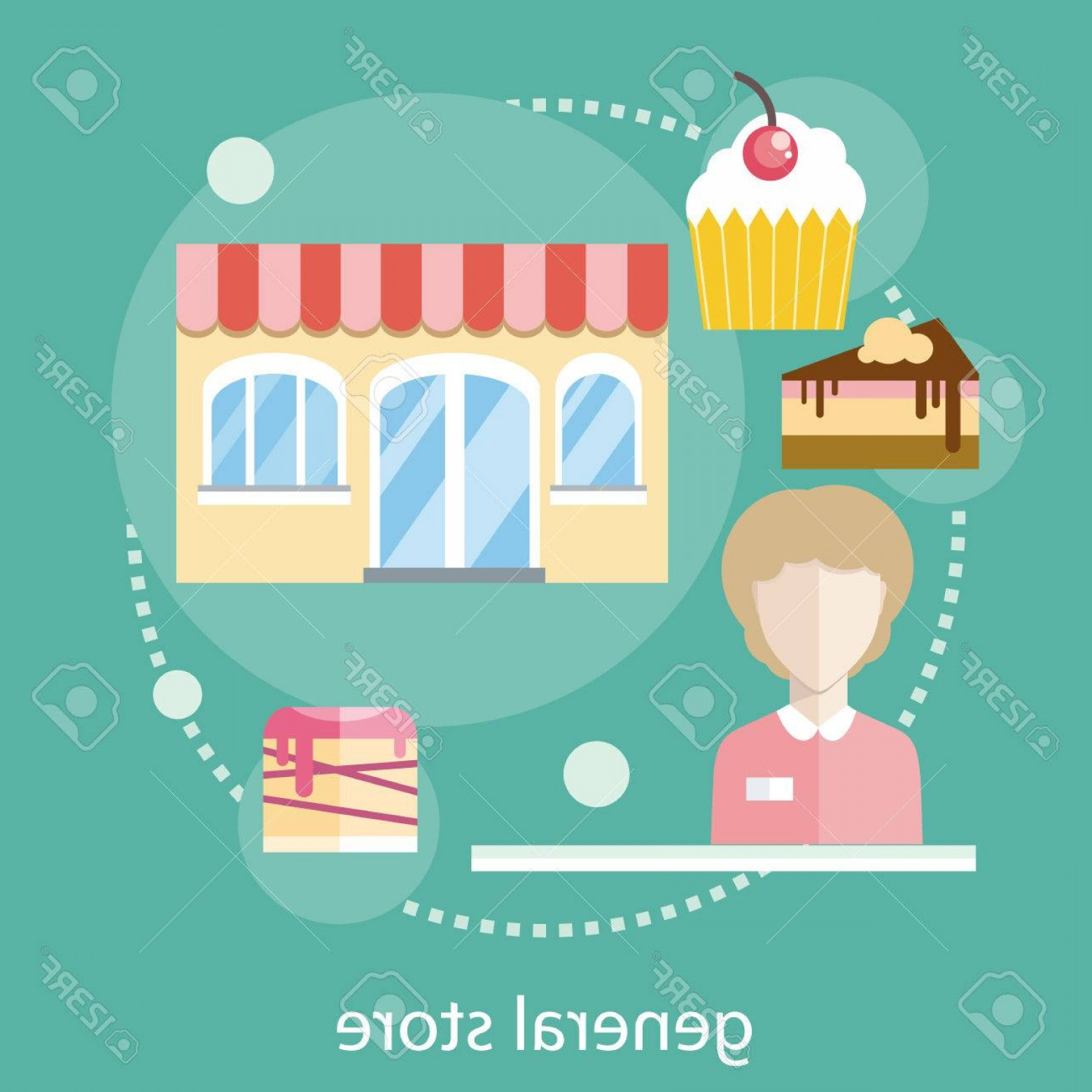 Candy Seller Vector: Photostock Vector Sweet Store Concept In Flat Design With Seller Near Chocolate Muffins Donuts Cakes And Candies