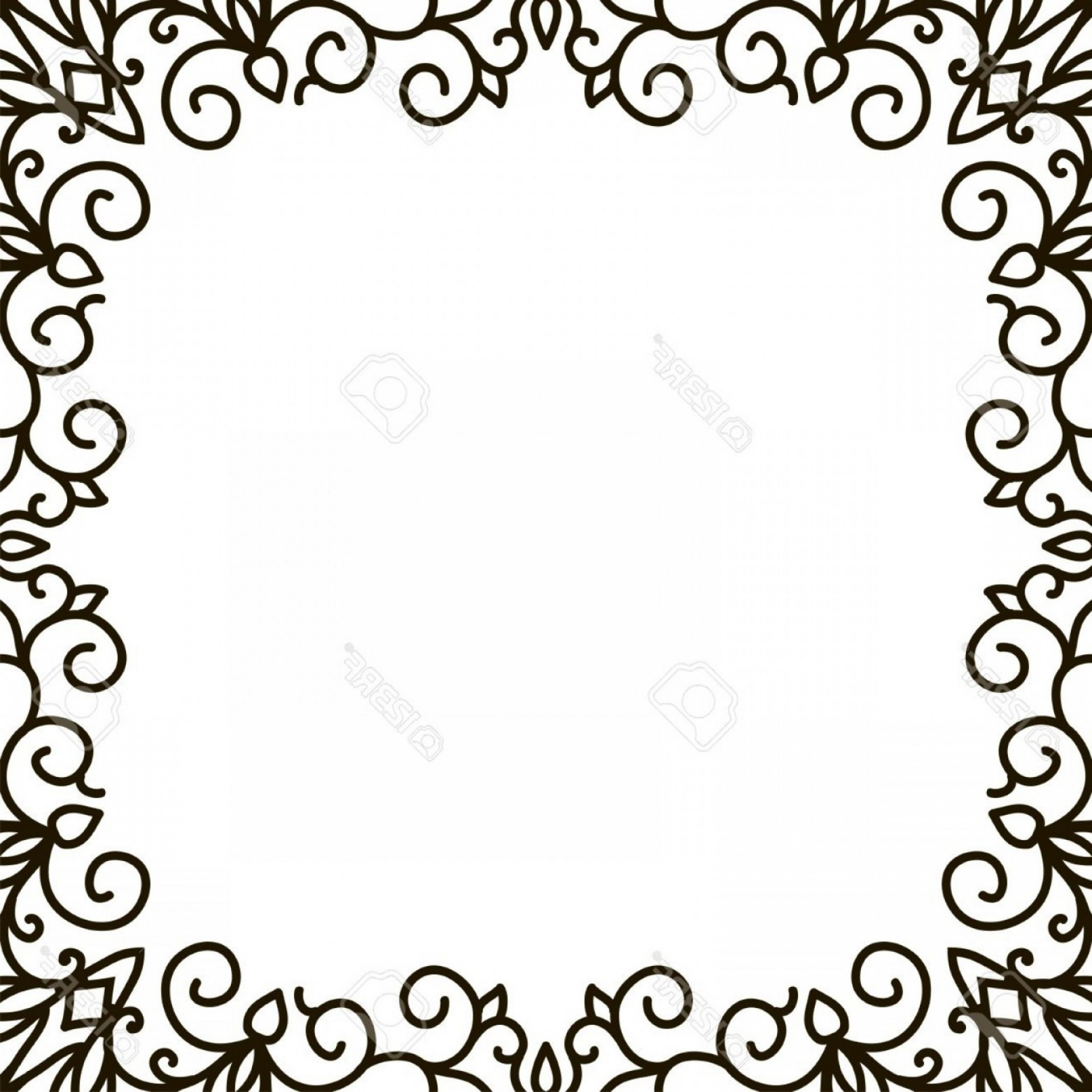 Square Black Vector Border Frame: Photostock Vector Swirl Floral Frame Old Black Doodle Border Black And White Floral Frame Square Shape Abstract Art