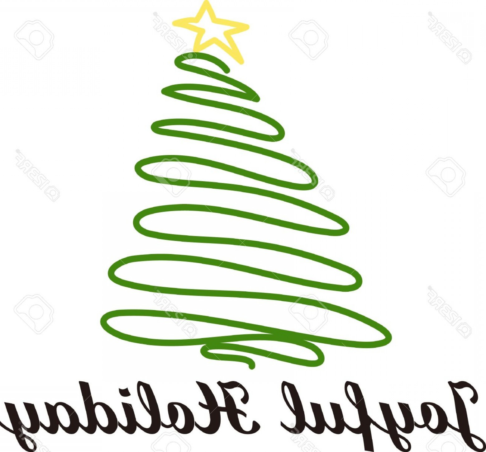 Swirly Christmas Tree Vector: Photostock Vector Swirly Lines Form A Simple And Lovely Christmas Tree Made Absolutely Perfect With A Star On Top