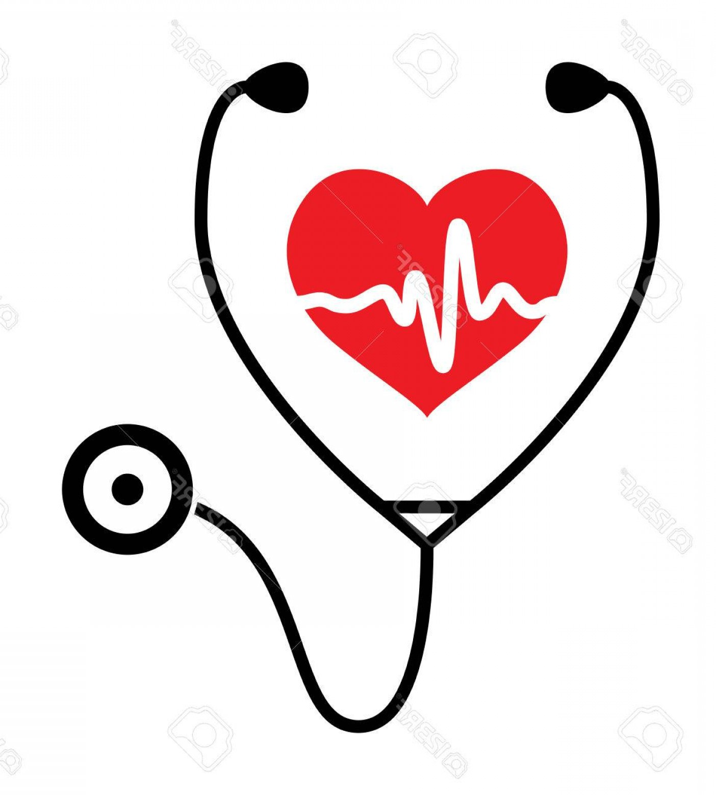 Stethoscope With Heart Vector Art: Photostock Vector Symbol Of Medical Exam Of Heart Health And Heartbeat With Stethoscope