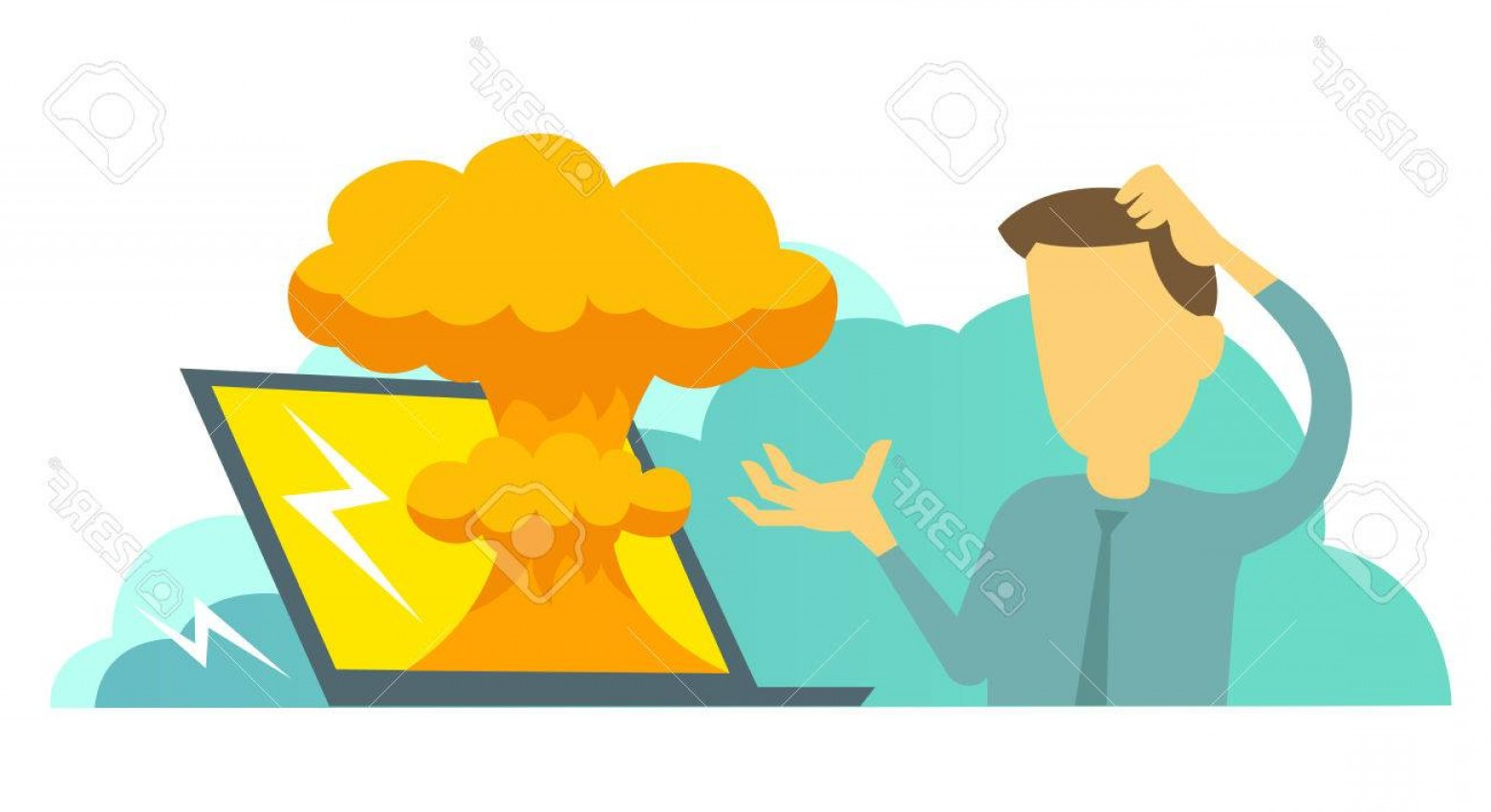 Atomic Bomb Explosion Vector: Photostock Vector System Error In Laptop Epic Fail Atomic Bomb Explosion Nuclear Man Manager Programmer And Bug In The