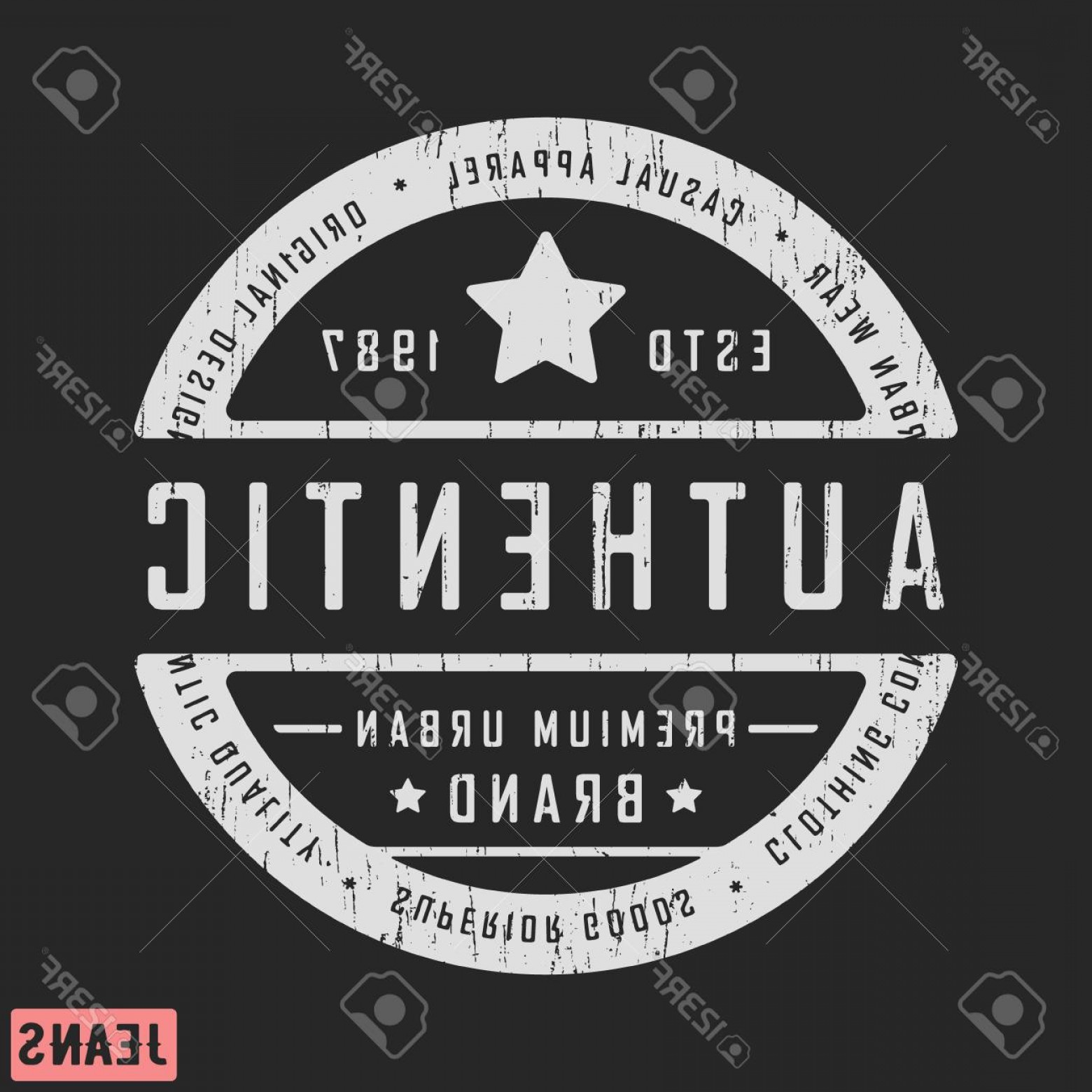 Vector Stamp Shirts: Photostock Vector T Shirt Print Design Authentic Vintage Stamp For Denim T Shirt Printing And Badge Applique Label T S
